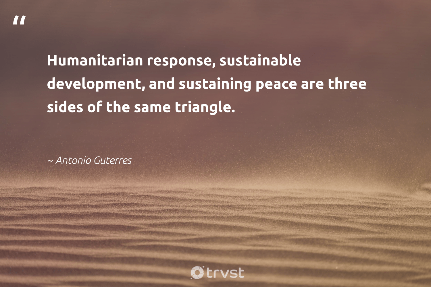"""""""Humanitarian response, sustainable development, and sustaining peace are three sides of the same triangle.""""  - Antonio Guterres #trvst #quotes #Charity #peace #sustainable #humanitarian #development #causes #society #communities #bethechange #nonprofitorganization"""