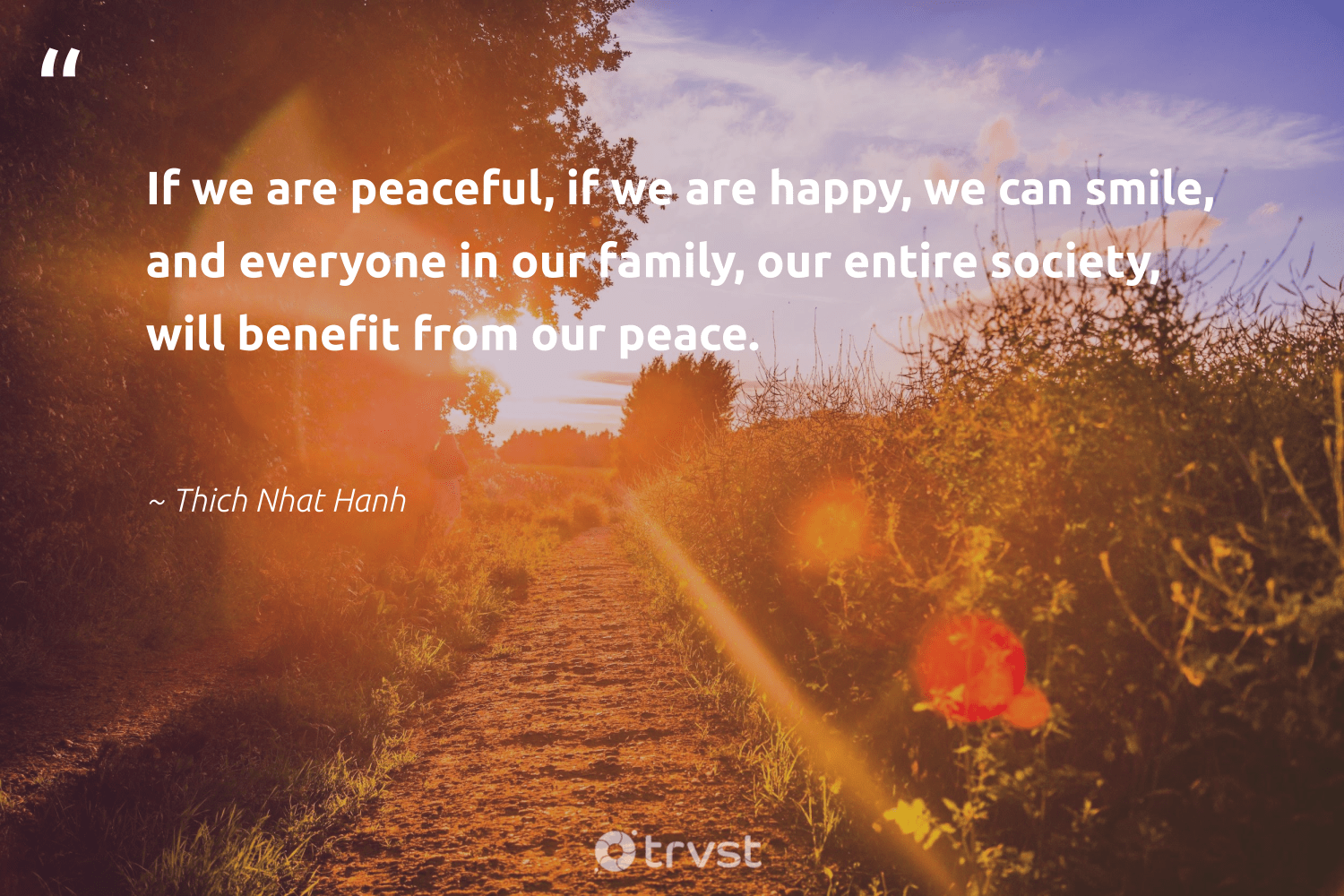 """""""If we are peaceful, if we are happy, we can smile, and everyone in our family, our entire society, will benefit from our peace.""""  - Thich Nhat Hanh #trvst #quotes #peace #society #family #happy #peacefulprotest #dogood #makeadifference #thinkgreen #activist #socialchange"""