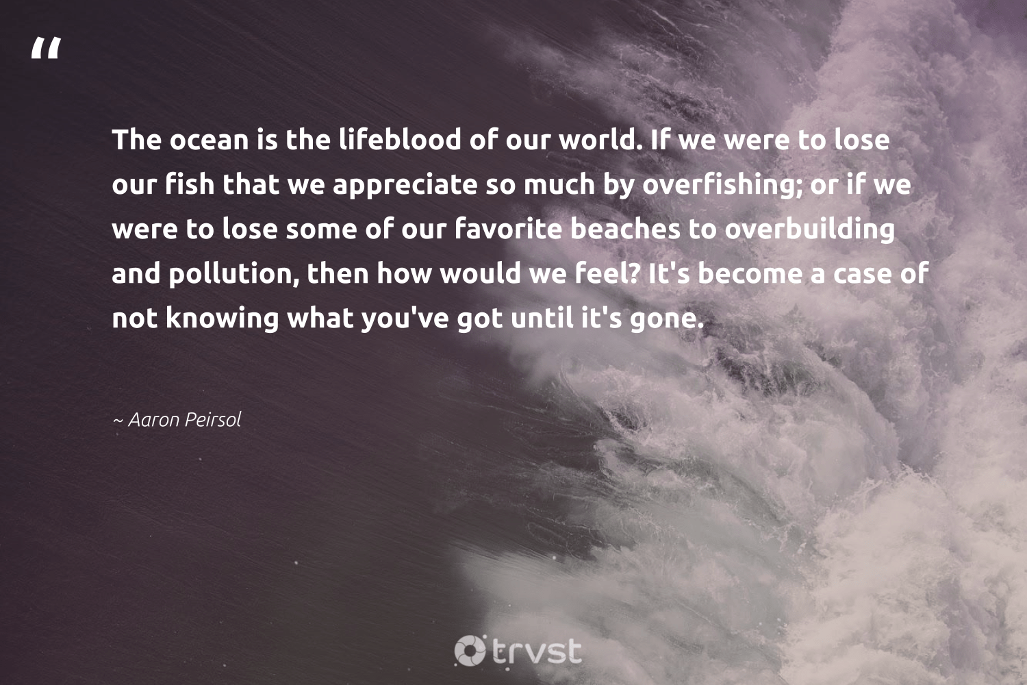 """""""The ocean is the lifeblood of our world. If we were to lose our fish that we appreciate so much by overfishing; or if we were to lose some of our favorite beaches to overbuilding and pollution, then how would we feel? It's become a case of not knowing what you've got until it's gone.""""  - Aaron Peirsol #trvst #quotes #pollute #pollution #ocean #fish #sustainableliving #volunteer #beinspired #spill #giveback #savetheplanet"""