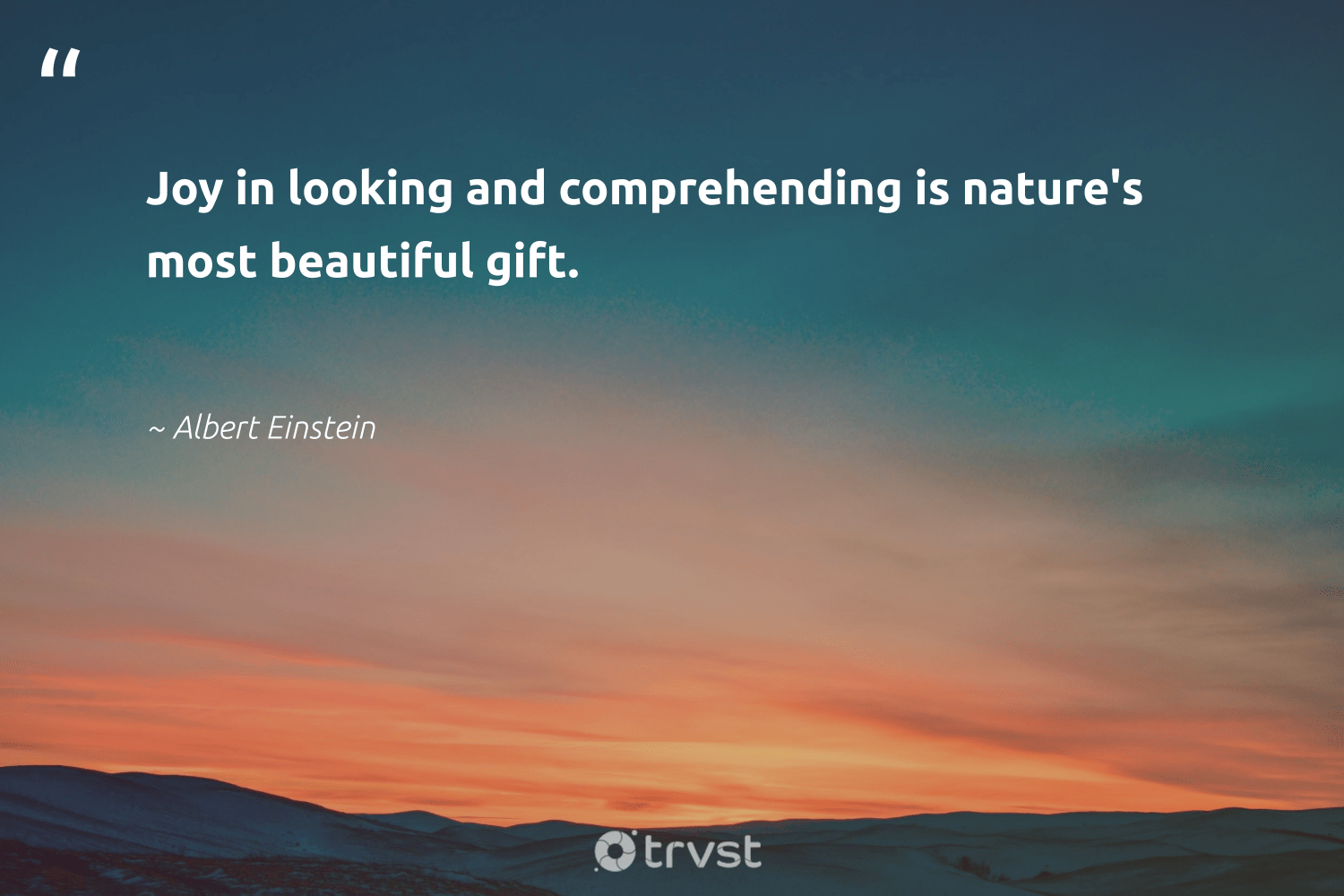"""""""Joy in looking and comprehending is nature's most beautiful gift.""""  - Albert Einstein #trvst #quotes #eco #ecoconscious #sustainability #bethechange #earth #thinkgreen #giveback #gogreen #natureseekers #beinspired"""