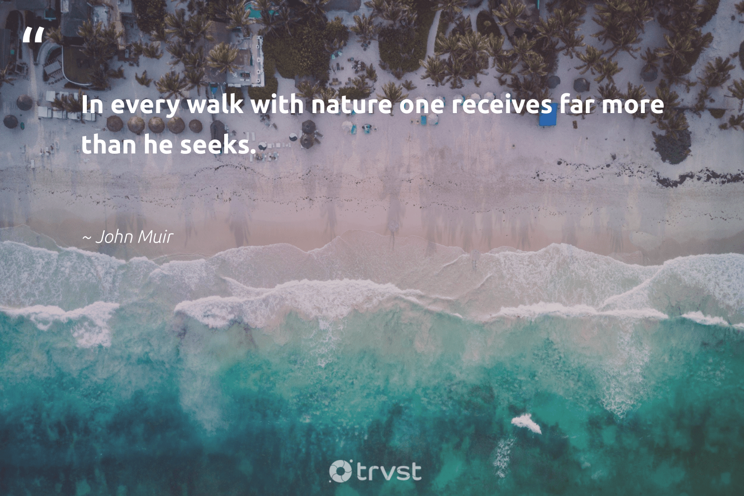 """""""In every walk with nature one receives far more than he seeks.""""  - John Muir #trvst #quotes #environment #nature #earth #climatechange #ecofriendly #thinkgreen #planet #sustainability #noplanetb #impact"""