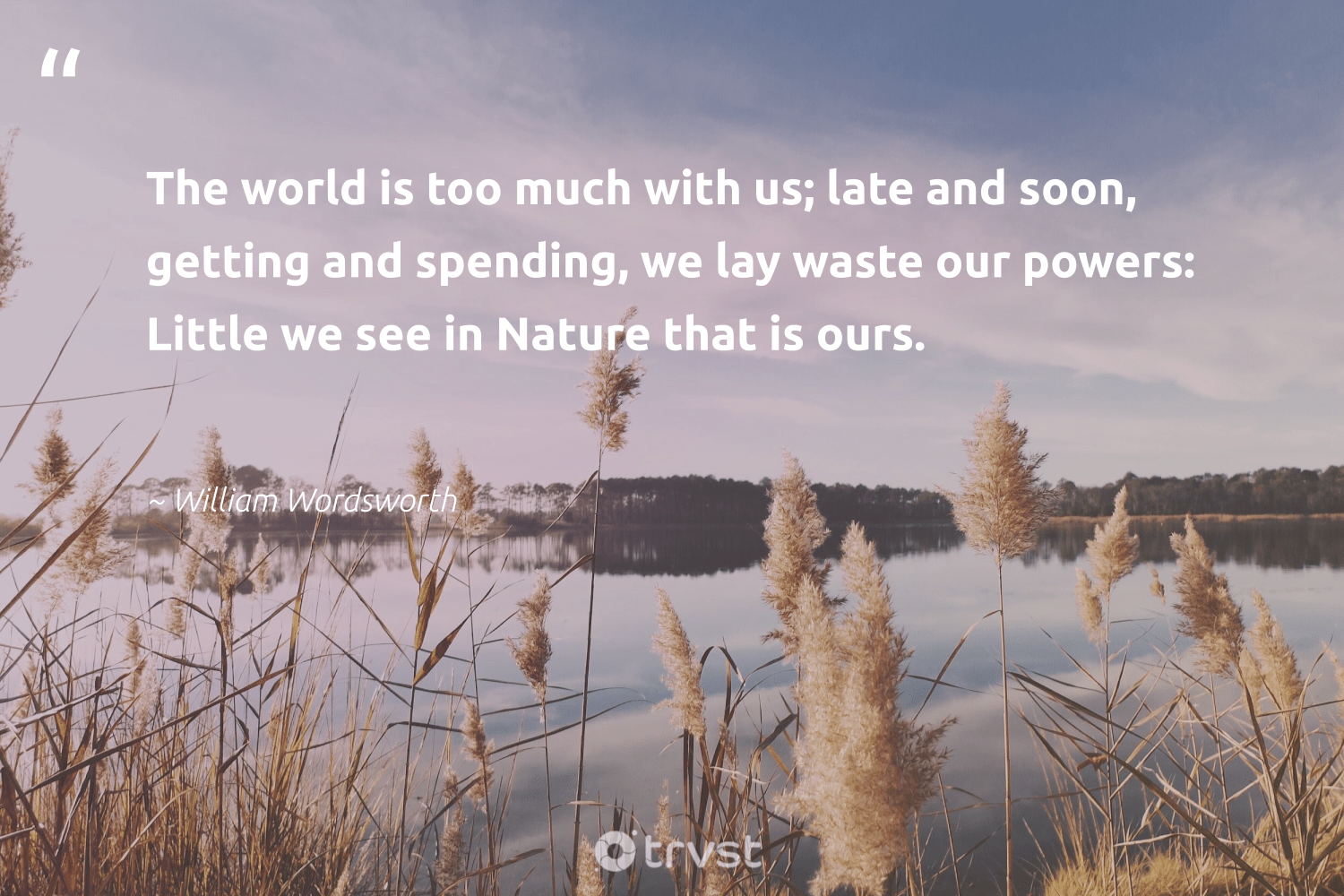 """""""The world is too much with us; late and soon, getting and spending, we lay waste our powers: Little we see in Nature that is ours.""""  - William Wordsworth #trvst #quotes #environment #waste #nature #giveback #sustainable #gogreen #planet #wildlifeplanet #sustainableliving #socialimpact"""