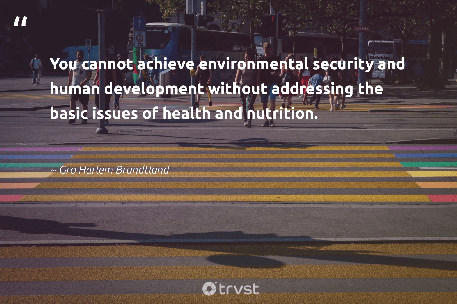 """You cannot achieve environmental security and human development without addressing the basic issues of health and nutrition.""  - Gro Harlem Brundtland #trvst #quotes #environmental #health #nutrition #development #healthylife #socialgood #mindset #planetearthfirst #wellbeing #makeadifference"