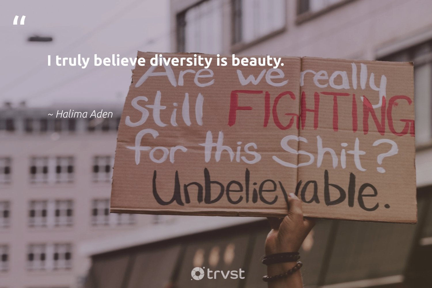 """I truly believe diversity is beauty.""  - Halima Aden #trvst #quotes #diversity #beauty #representationmatters #inclusion #weareallone #makeadifference #ecoconscious #discrimination #socialgood #socialchange"