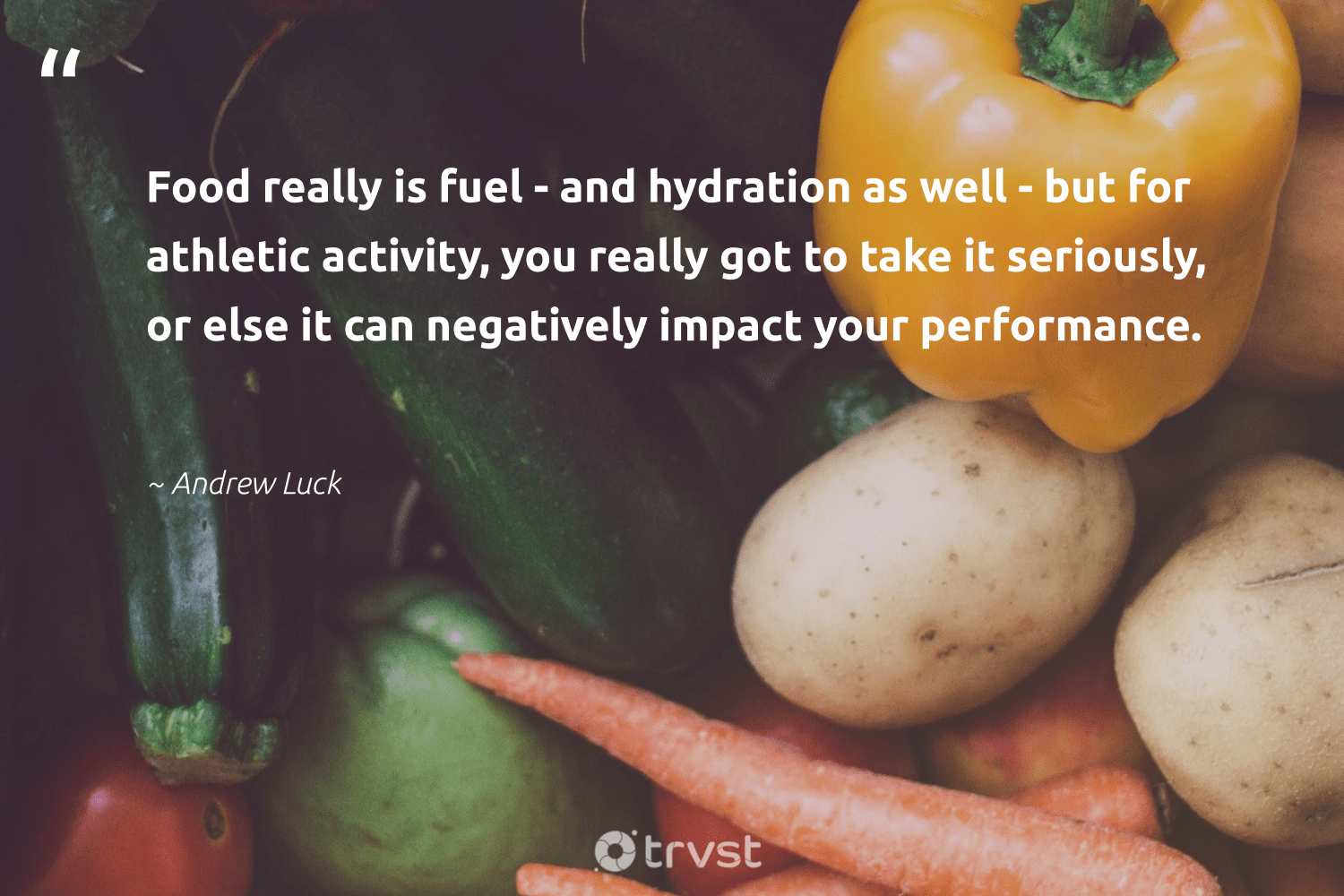 """Food really is fuel - and hydration as well - but for athletic activity, you really got to take it seriously, or else it can negatively impact your performance.""  - Andrew Luck #trvst #quotes #impact #food #foodforthepoor #mindset #weareallone #ecoconscious #hunger #begreat #sustainablefutures #dotherightthing"