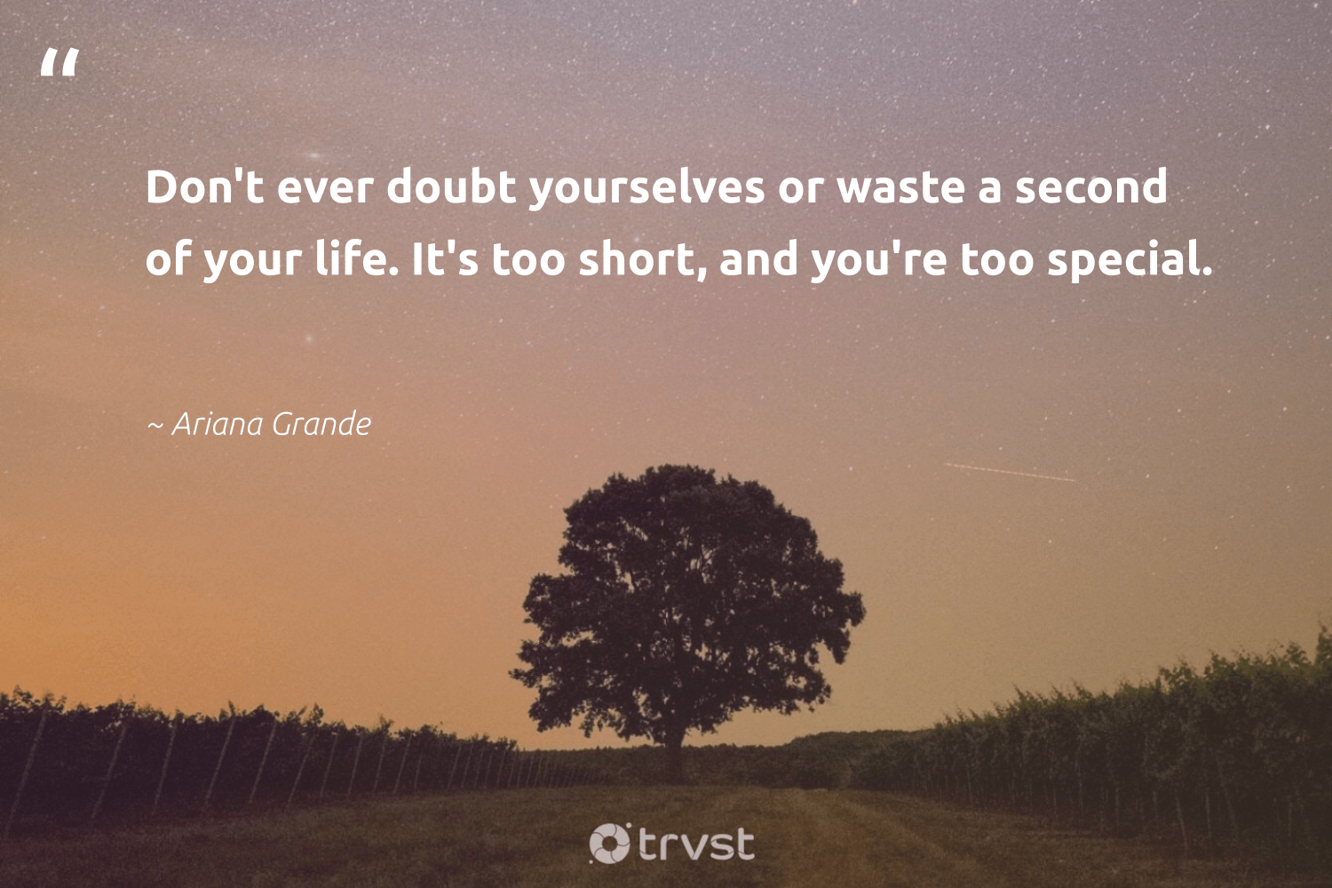 """Don't ever doubt yourselves or waste a second of your life. It's too short, and you're too special.""  - Ariana Grande #trvst #quotes #waste #nevergiveup #dosomething #changemakers #dogood #mindset #gogreen #begreat #bethechange #health"