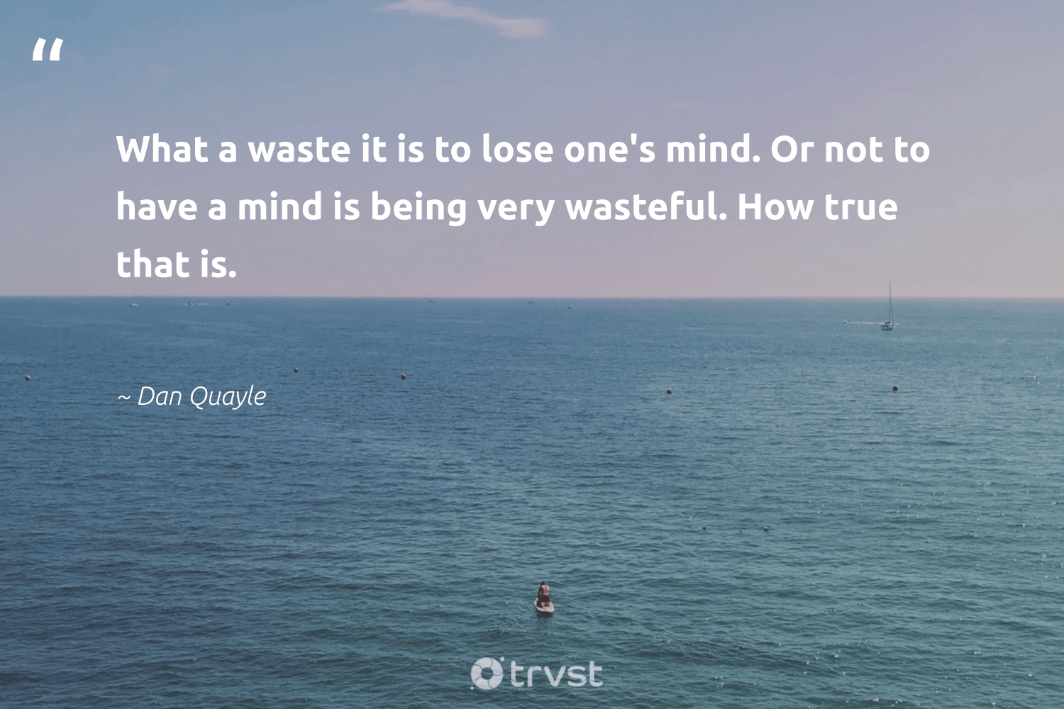 """What a waste it is to lose one's mind. Or not to have a mind is being very wasteful. How true that is.""  - Dan Quayle #trvst #quotes #waste #health #gogreen #nevergiveup #planetearthfirst #begreat #socialimpact #changemakers #impact #togetherwecan"