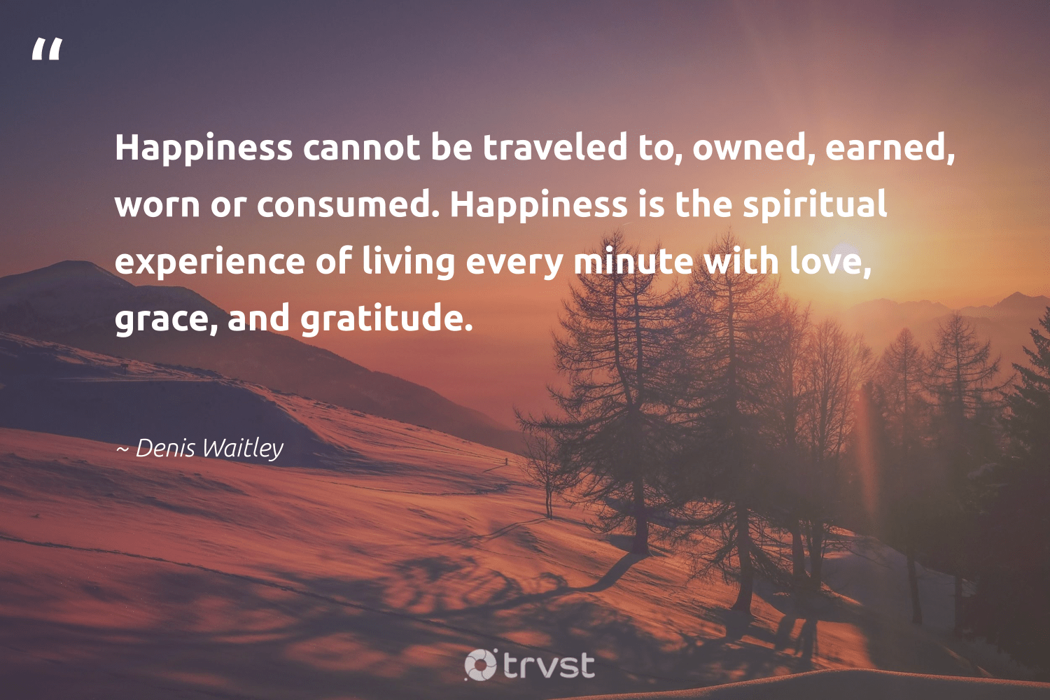"""""""Happiness cannot be traveled to, owned, earned, worn or consumed. Happiness is the spiritual experience of living every minute with love, grace, and gratitude.""""  - Denis Waitley #trvst #quotes #love #gratitude #happiness #spiritual #health #changetheworld #nevergiveup #dogood #togetherwecan #impact"""