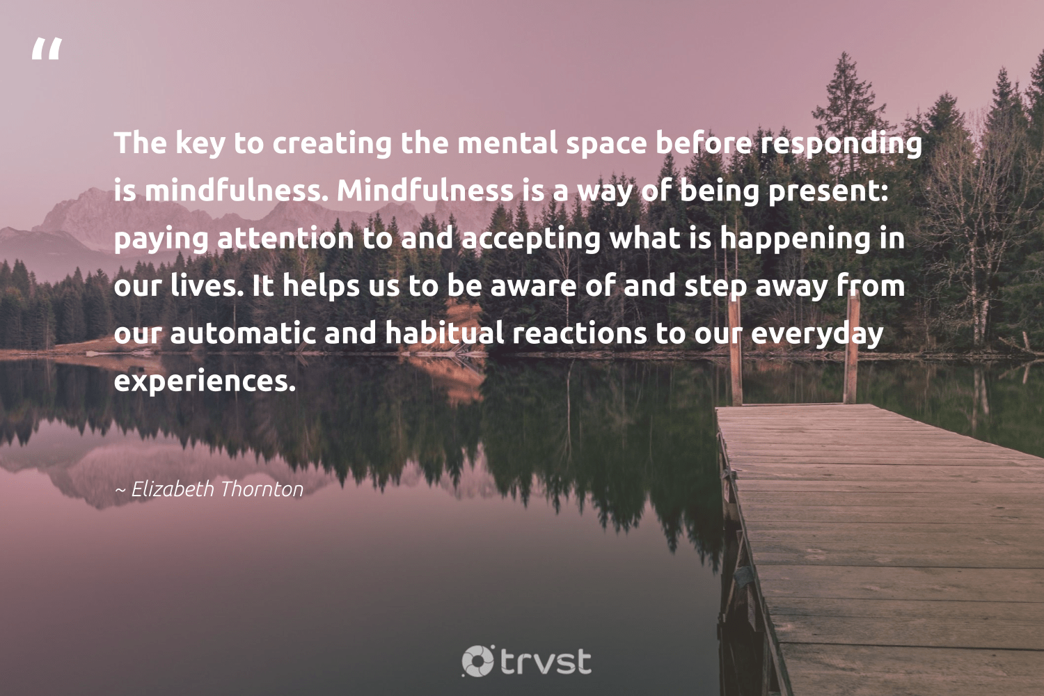 """""""The key to creating the mental space before responding is mindfulness. Mindfulness is a way of being present: paying attention to and accepting what is happening in our lives. It helps us to be aware of and step away from our automatic and habitual reactions to our everyday experiences.""""  - Elizabeth Thornton #trvst #quotes #mindfulness #mindful #positivity #togetherwecan #takeaction #meditate #happiness #health #dosomething #motivation"""