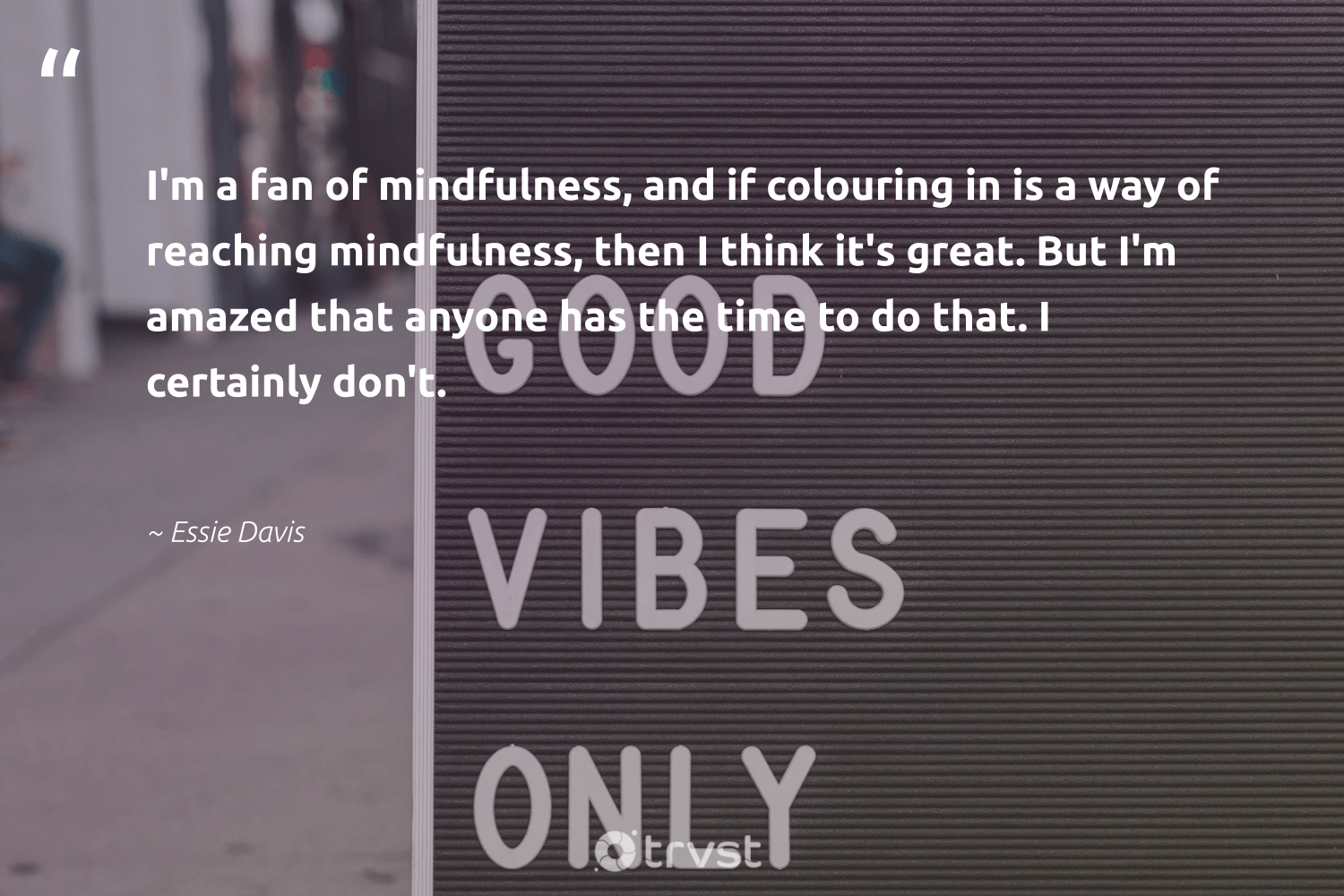 """""""I'm a fan of mindfulness, and if colouring in is a way of reaching mindfulness, then I think it's great. But I'm amazed that anyone has the time to do that. I certainly don't.""""  - Essie Davis #trvst #quotes #mindfulness #mindset #mentalheatlh #begreat #collectiveaction #meditation #wellness #health #socialimpact #goals"""