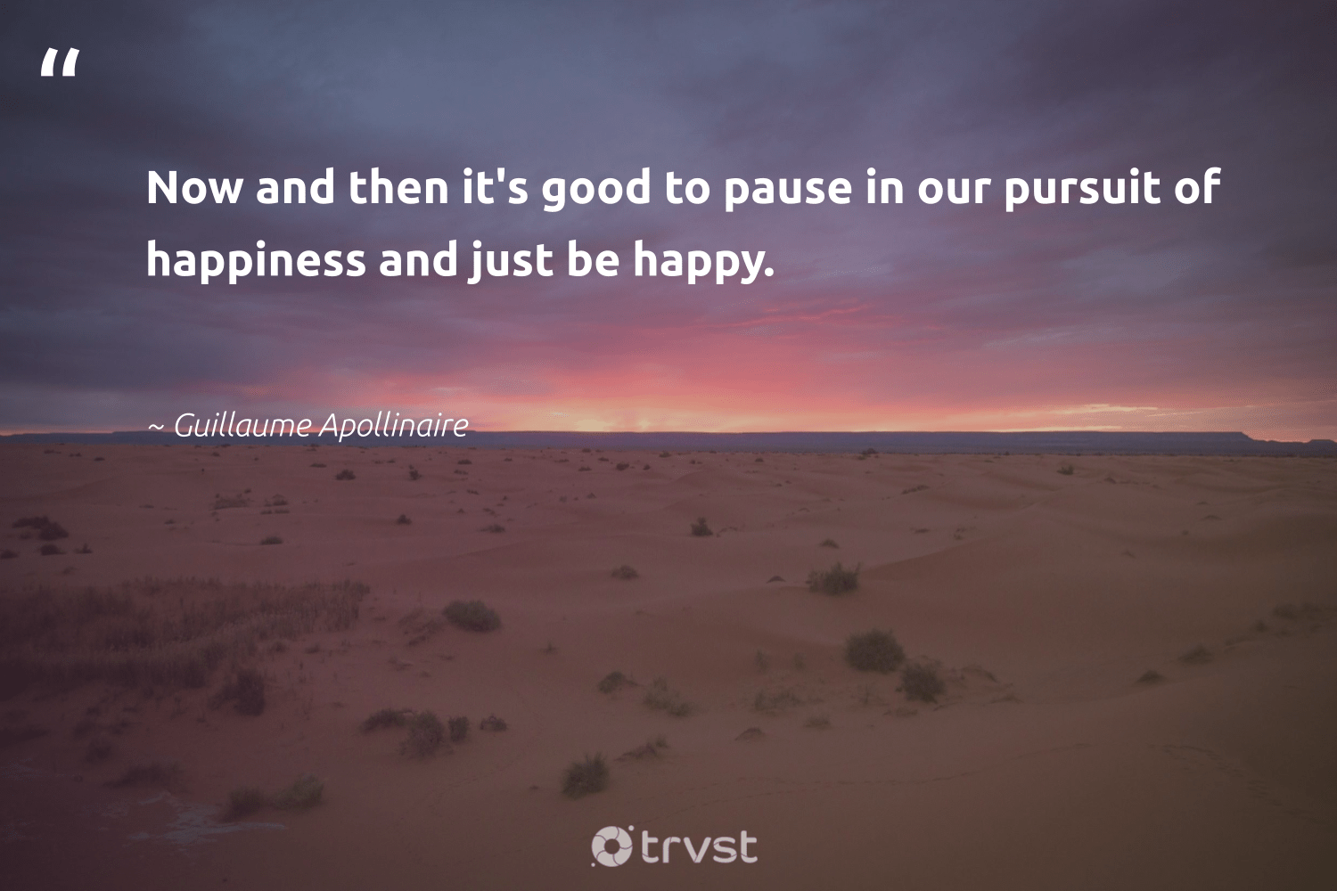 """""""Now and then it's good to pause in our pursuit of happiness and just be happy.""""  - Guillaume Apollinaire #trvst #quotes #happy #happiness #health #dotherightthing #begreat #socialchange #changemakers #socialimpact #nevergiveup #beinspired"""