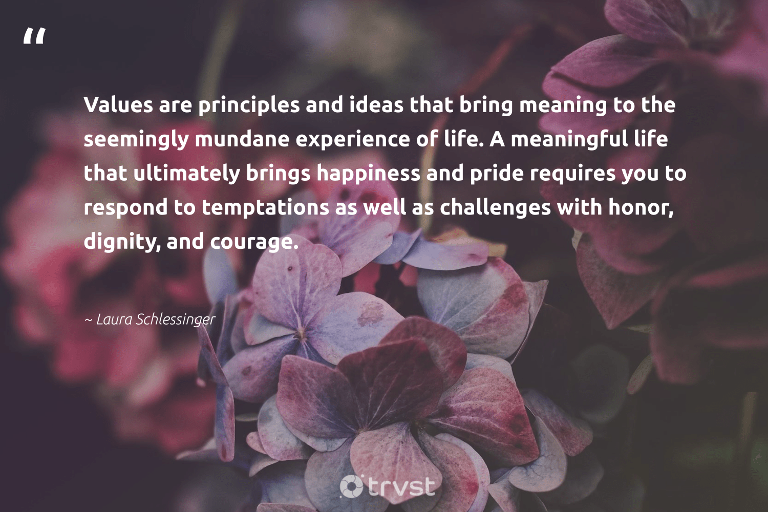 """""""Values are principles and ideas that bring meaning to the seemingly mundane experience of life. A meaningful life that ultimately brings happiness and pride requires you to respond to temptations as well as challenges with honor, dignity, and courage.""""  - Laura Schlessinger #trvst #quotes #pride #happiness #changemakers #beinspired #togetherwecan #planetearthfirst #begreat #dotherightthing #nevergiveup #impact"""
