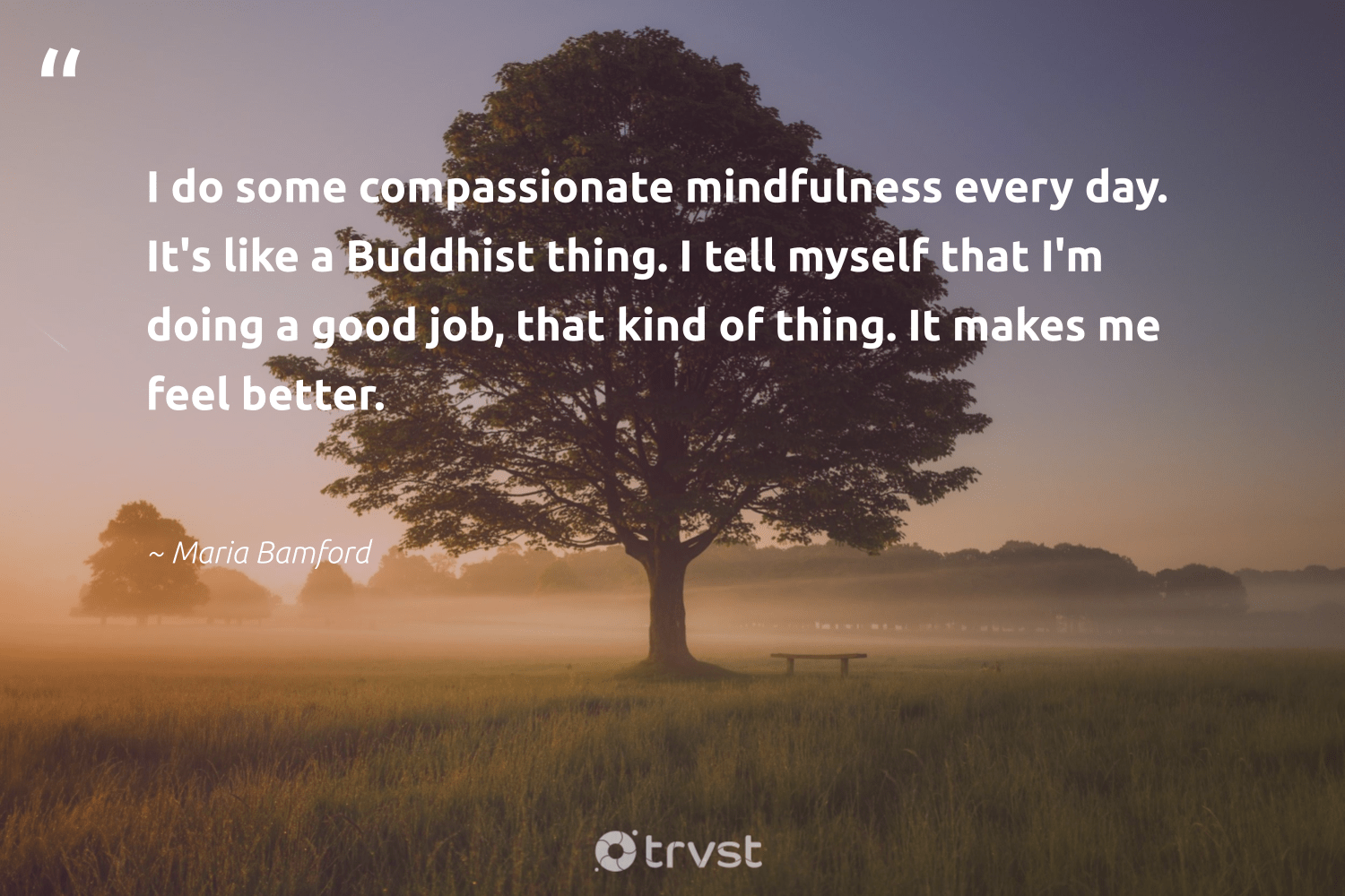 """""""I do some compassionate mindfulness every day. It's like a Buddhist thing. I tell myself that I'm doing a good job, that kind of thing. It makes me feel better.""""  - Maria Bamford #trvst #quotes #mindfulness #entrepreneurmindset #positivity #health #bethechange #goals #kindness #changemakers #collectiveaction #growthmindset"""