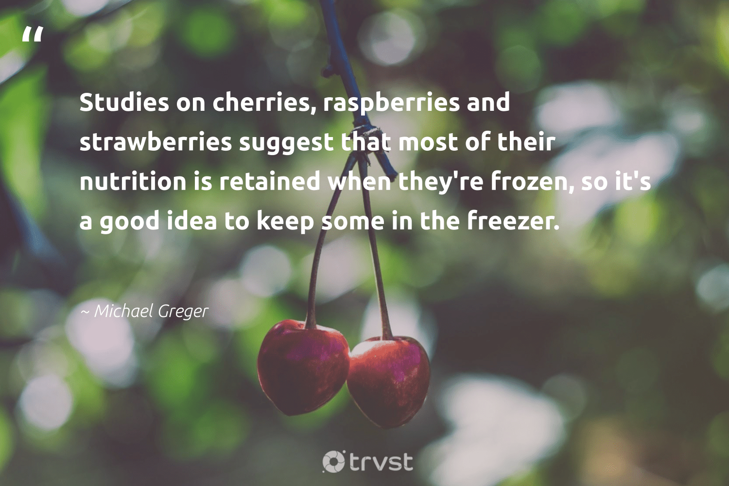 """Studies on cherries, raspberries and strawberries suggest that most of their nutrition is retained when they're frozen, so it's a good idea to keep some in the freezer.""  - Michael Greger #trvst #quotes #eatclean #nutrition #health #togetherwecan #dogood #healthyeating #nevergiveup #begreat #dosomething #balance"