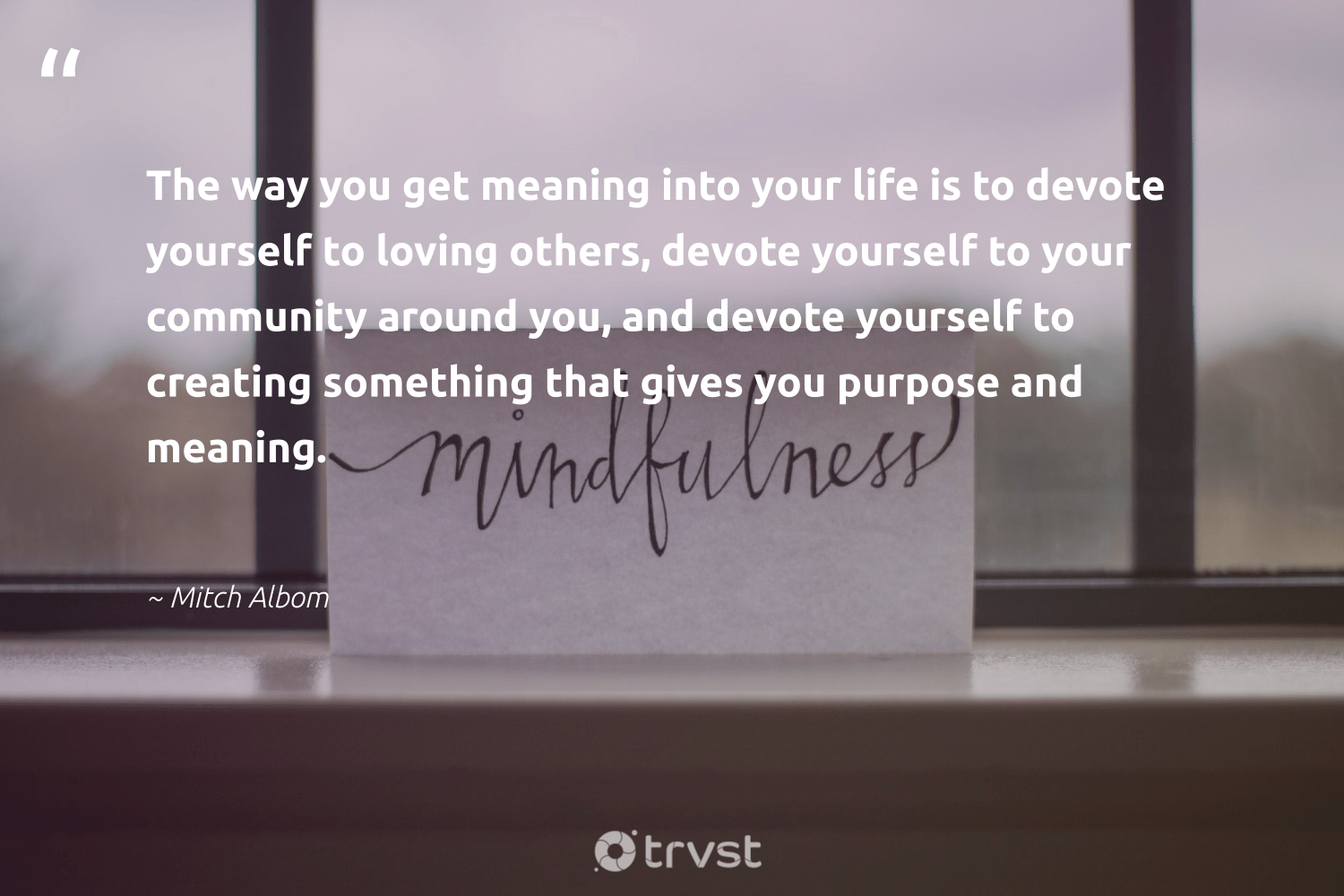 """""""The way you get meaning into your life is to devote yourself to loving others, devote yourself to your community around you, and devote yourself to creating something that gives you purpose and meaning.""""  - Mitch Albom #trvst #quotes #purpose #purposedriven #nevergiveup #mindset #dotherightthing #findingpupose #begreat #changemakers #takeaction #findpurpose"""