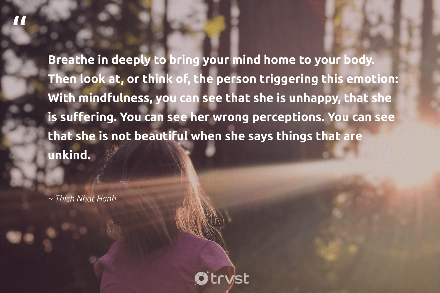 """""""Breathe in deeply to bring your mind home to your body. Then look at, or think of, the person triggering this emotion: With mindfulness, you can see that she is unhappy, that she is suffering. You can see her wrong perceptions. You can see that she is not beautiful when she says things that are unkind.""""  - Thich Nhat Hanh #trvst #quotes #mindfulness #mindful #positivity #mindset #gogreen #entrepreneurmindset #wellness #togetherwecan #socialimpact #meditation"""
