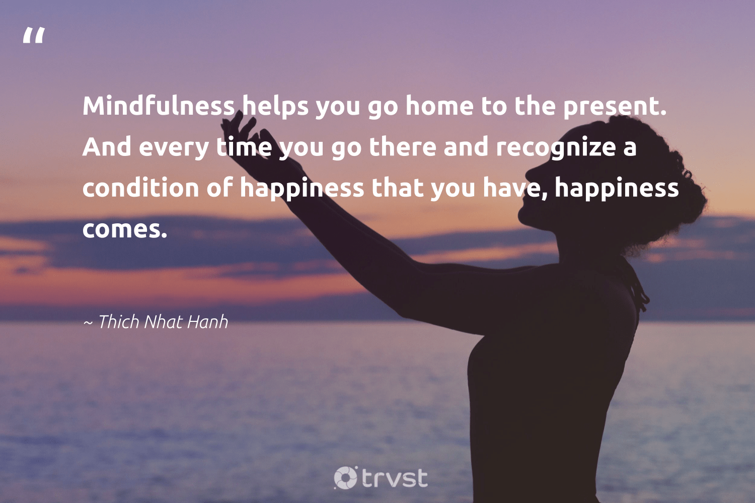 """""""Mindfulness helps you go home to the present. And every time you go there and recognize a condition of happiness that you have, happiness comes.""""  - Thich Nhat Hanh #trvst #quotes #happiness #mindfulness #mindful #mentalheatlh #nevergiveup #gogreen #creativemindset #positivity #togetherwecan #collectiveaction"""