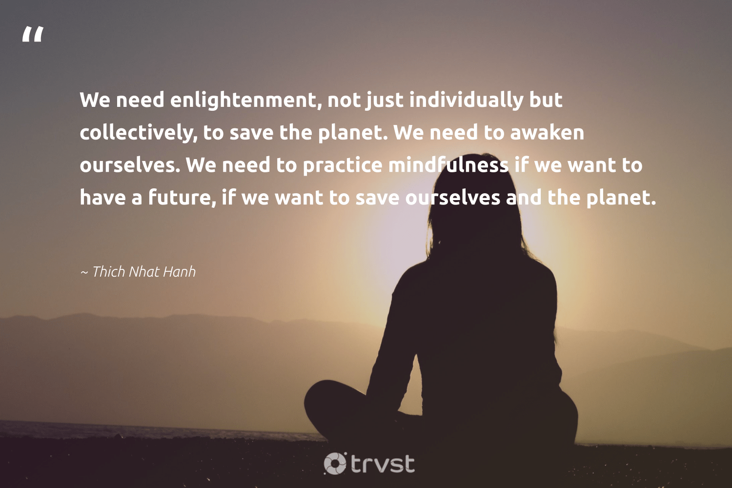 """""""We need enlightenment, not just individually but collectively, to save the planet. We need to awaken ourselves. We need to practice mindfulness if we want to have a future, if we want to save ourselves and the planet.""""  - Thich Nhat Hanh #trvst #quotes #savetheplanet #planet #mindfulness #nature #wellness #green #dosomething #earth #happiness #environmentallyfriendly"""