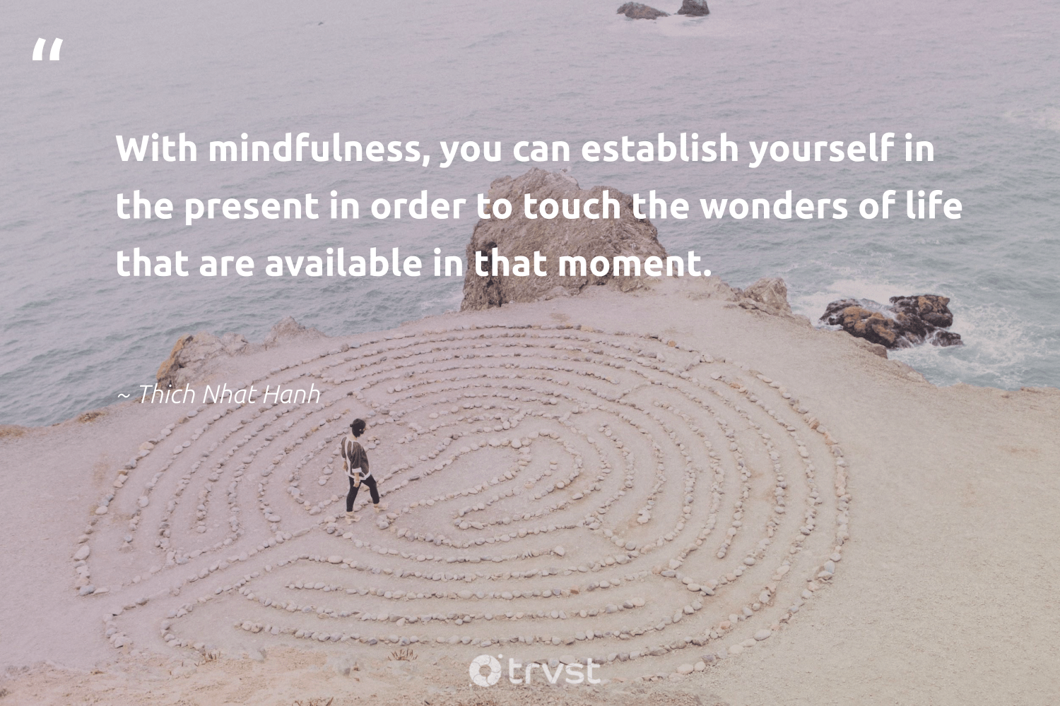 """""""With mindfulness, you can establish yourself in the present in order to touch the wonders of life that are available in that moment.""""  - Thich Nhat Hanh #trvst #quotes #mindfulness #creativemindset #kindness #begreat #collectiveaction #mindful #mindset #changemakers #dogood #meditate"""