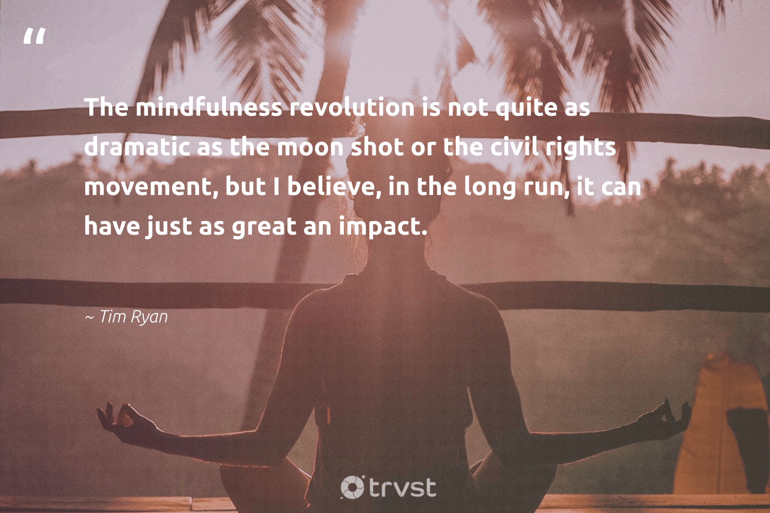 """""""The mindfulness revolution is not quite as dramatic as the moon shot or the civil rights movement, but I believe, in the long run, it can have just as great an impact.""""  - Tim Ryan #trvst #quotes #impact #mindfulness #creativemindset #wellness #changemakers #changetheworld #goals #happiness #begreat #socialimpact"""