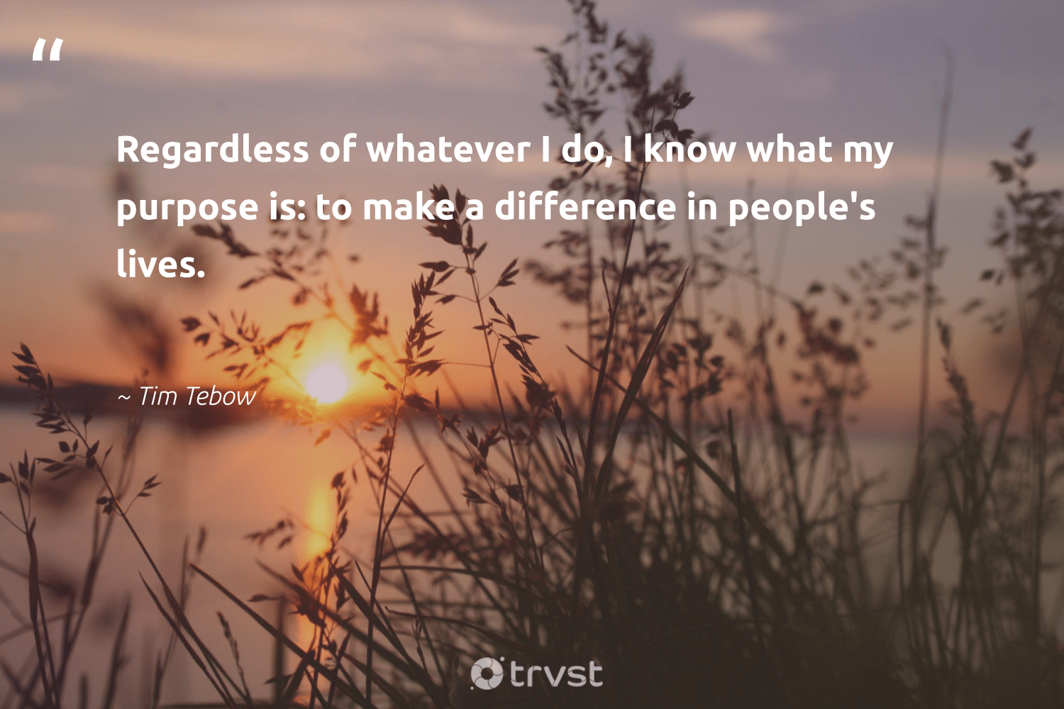 """""""Regardless of whatever I do, I know what my purpose is: to make a difference in people's lives.""""  - Tim Tebow #trvst #quotes #purpose #makeadifference #findingpupose #nevergiveup #changemakers #dotherightthing #findpurpose #togetherwecan #health #gogreen"""