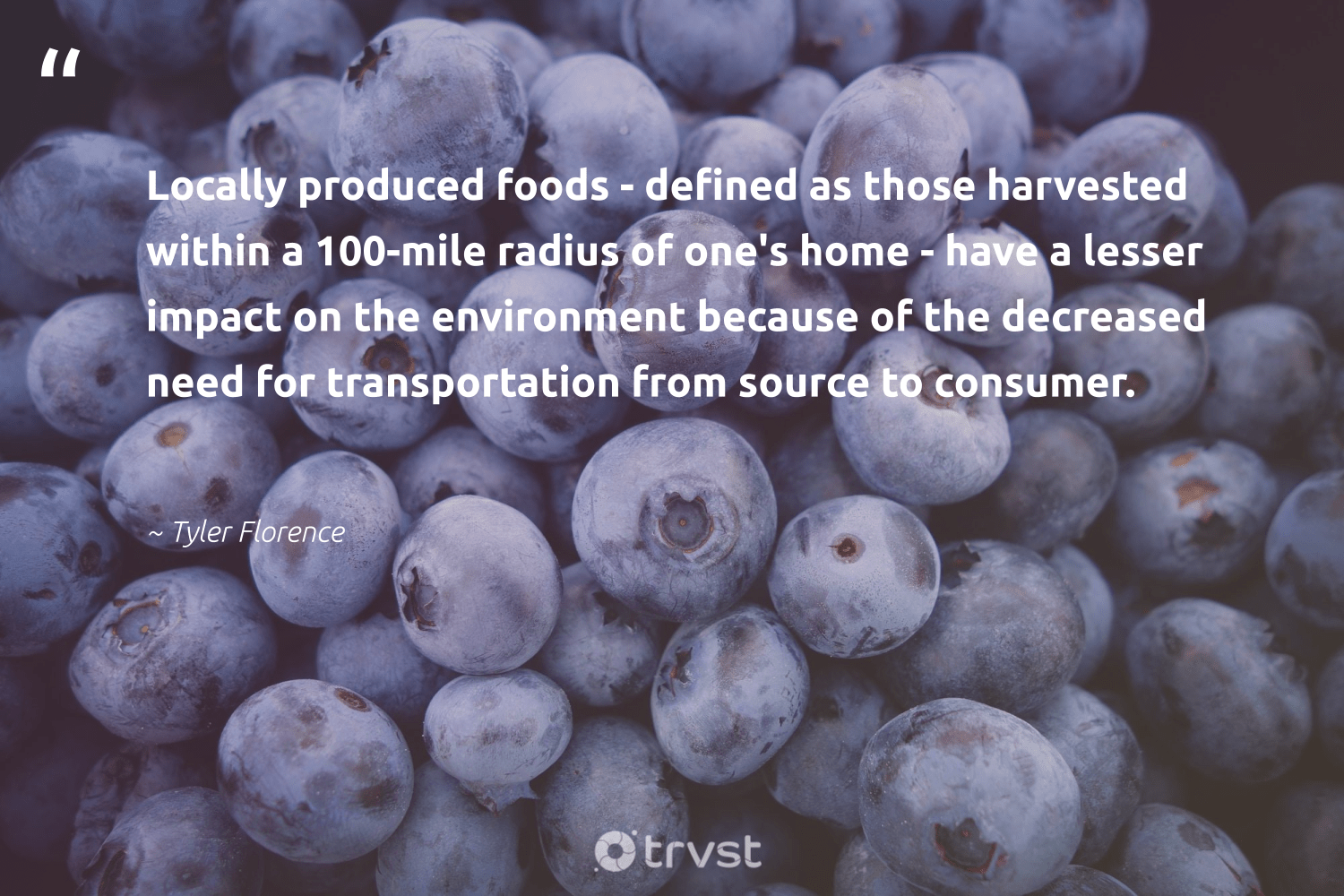 """Locally produced foods - defined as those harvested within a 100-mile radius of one's home - have a lesser impact on the environment because of the decreased need for transportation from source to consumer.""  - Tyler Florence #trvst #quotes #impact #environment #nature #nevergiveup #naturelovers #thinkgreen #conservation #health #natureseekers #socialchange"