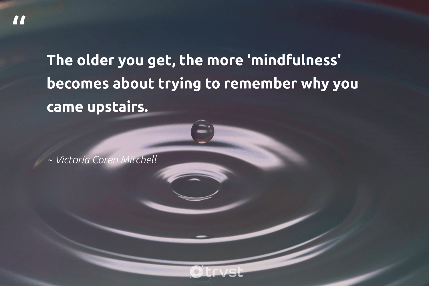 """""""The older you get, the more 'mindfulness' becomes about trying to remember why you came upstairs.""""  - Victoria Coren Mitchell #trvst #quotes #mindfulness #growthmindset #mindset #health #socialchange #meditate #positivity #nevergiveup #bethechange #meditation"""