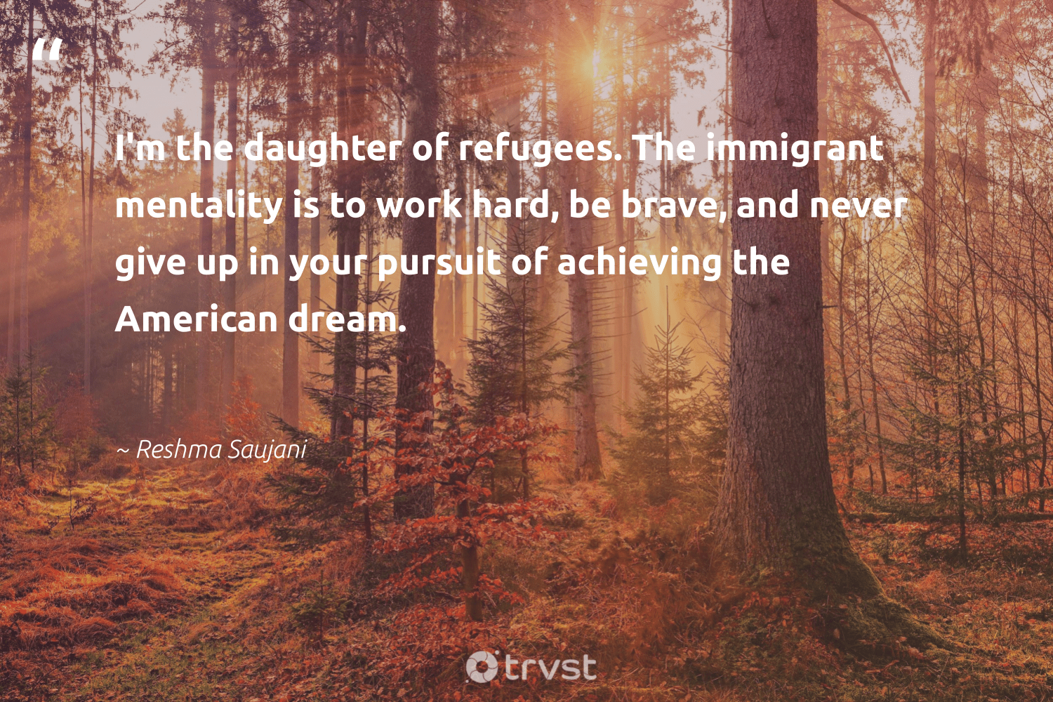 """""""I'm the daughter of refugees. The immigrant mentality is to work hard, be brave, and never give up in your pursuit of achieving the American dream.""""  - Reshma Saujani #trvst #quotes #refugees #nevergiveup #refugee #sustainablefutures #equalopportunity #socialimpact #refugeeswelcome #inclusion #makeadifference #dotherightthing"""