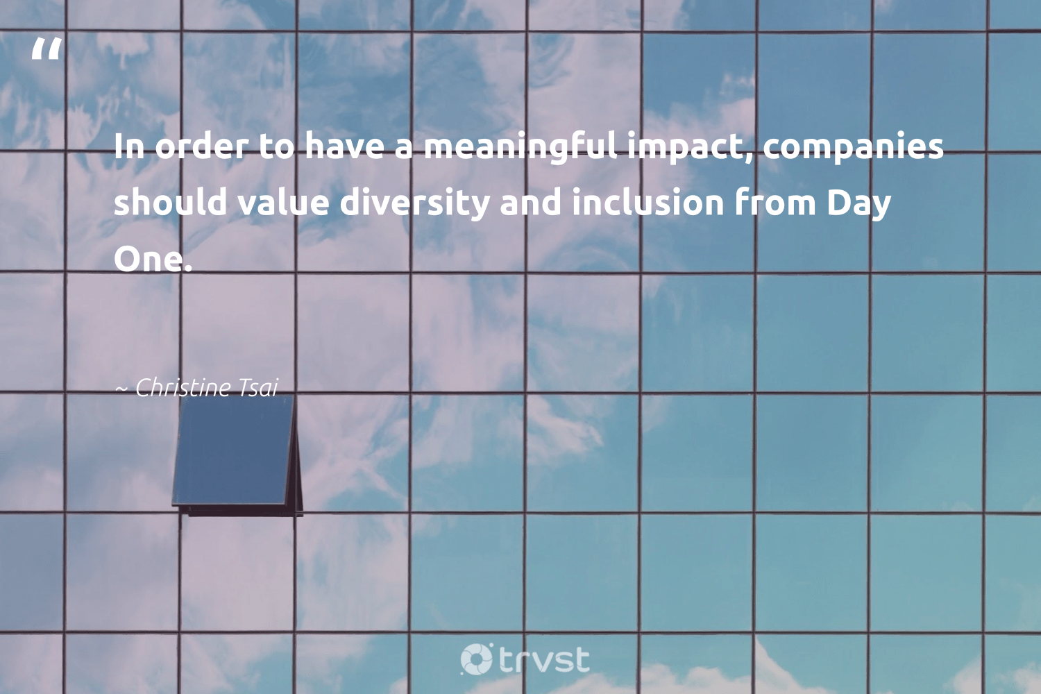 """""""In order to have a meaningful impact, companies should value diversity and inclusion from Day One.""""  - Christine Tsai #trvst #quotes #impact #diversity #inclusion #representationmatters #discrimination #ecoconscious #socialgood #dotherightthing #sharedresponsibility #weareallone"""