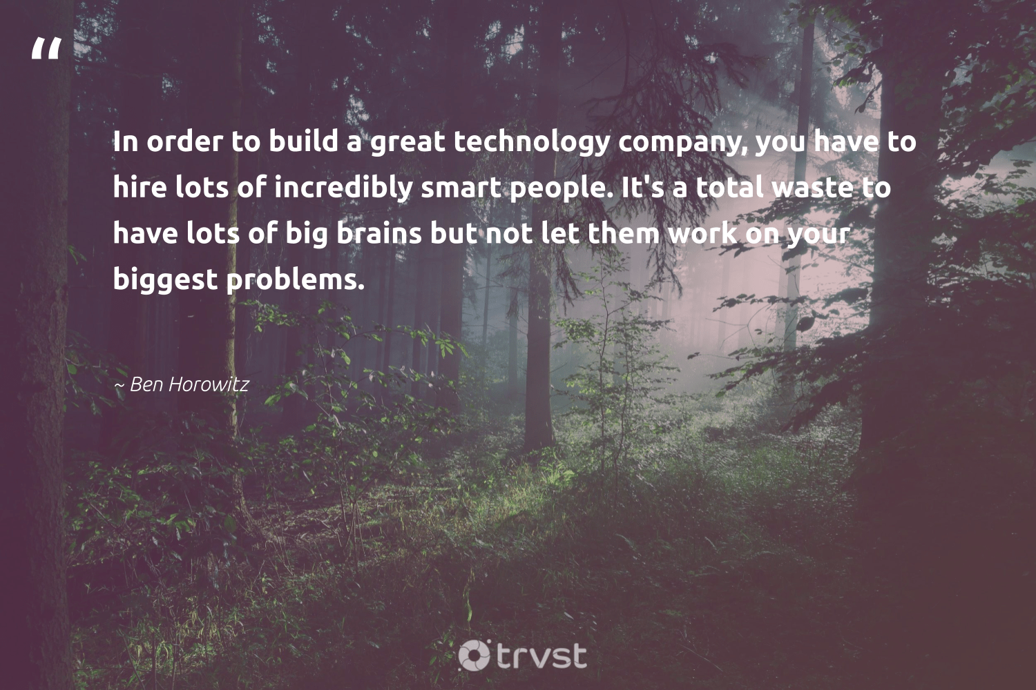 """""""In order to build a great technology company, you have to hire lots of incredibly smart people. It's a total waste to have lots of big brains but not let them work on your biggest problems.""""  - Ben Horowitz #trvst #quotes #waste #betterplanet #changetheworld #weareallone #gogreen #socialchange #collectiveaction #giveback #bethechange #dogood"""