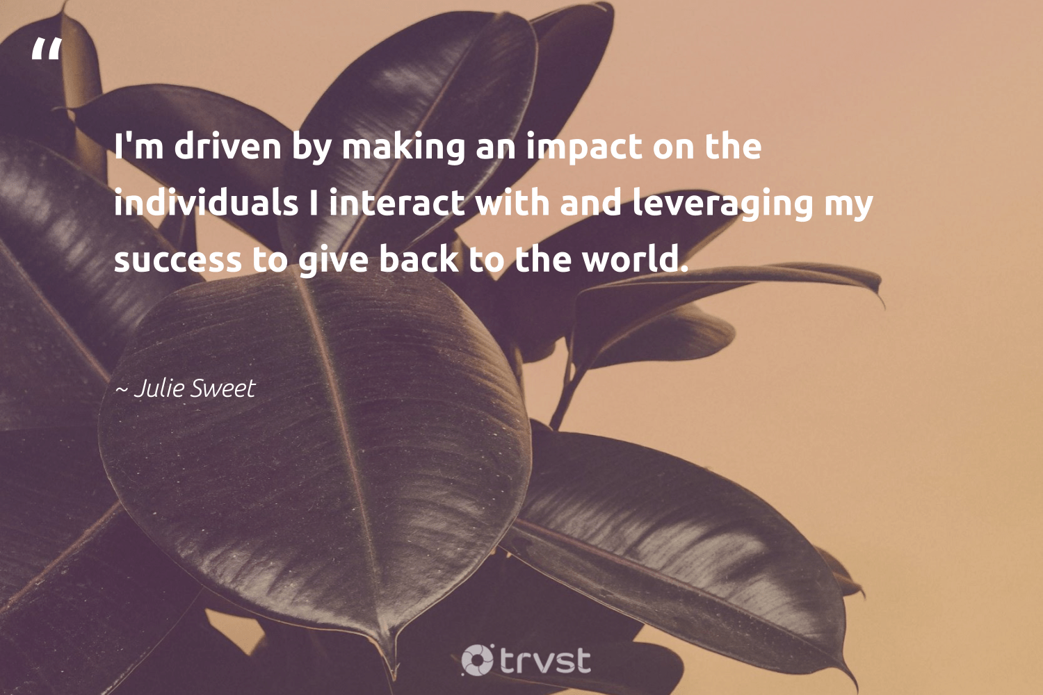 """I'm driven by making an impact on the individuals I interact with and leveraging my success to give back to the world.""  - Julie Sweet #trvst #quotes #impact #giveback #success #timemanagement #socialchange #begreat #dogood #focus #makeadifference #futureofwork"