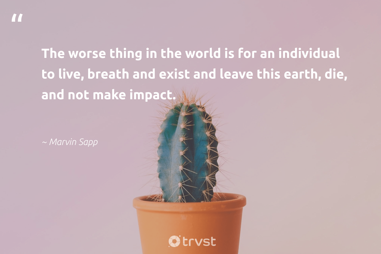 """The worse thing in the world is for an individual to live, breath and exist and leave this earth, die, and not make impact.""  - Marvin Sapp #trvst #quotes #impact #earth #environment #giveback #eco #planetearthfirst #conservation #betterplanet #wildernessnation #takeaction"