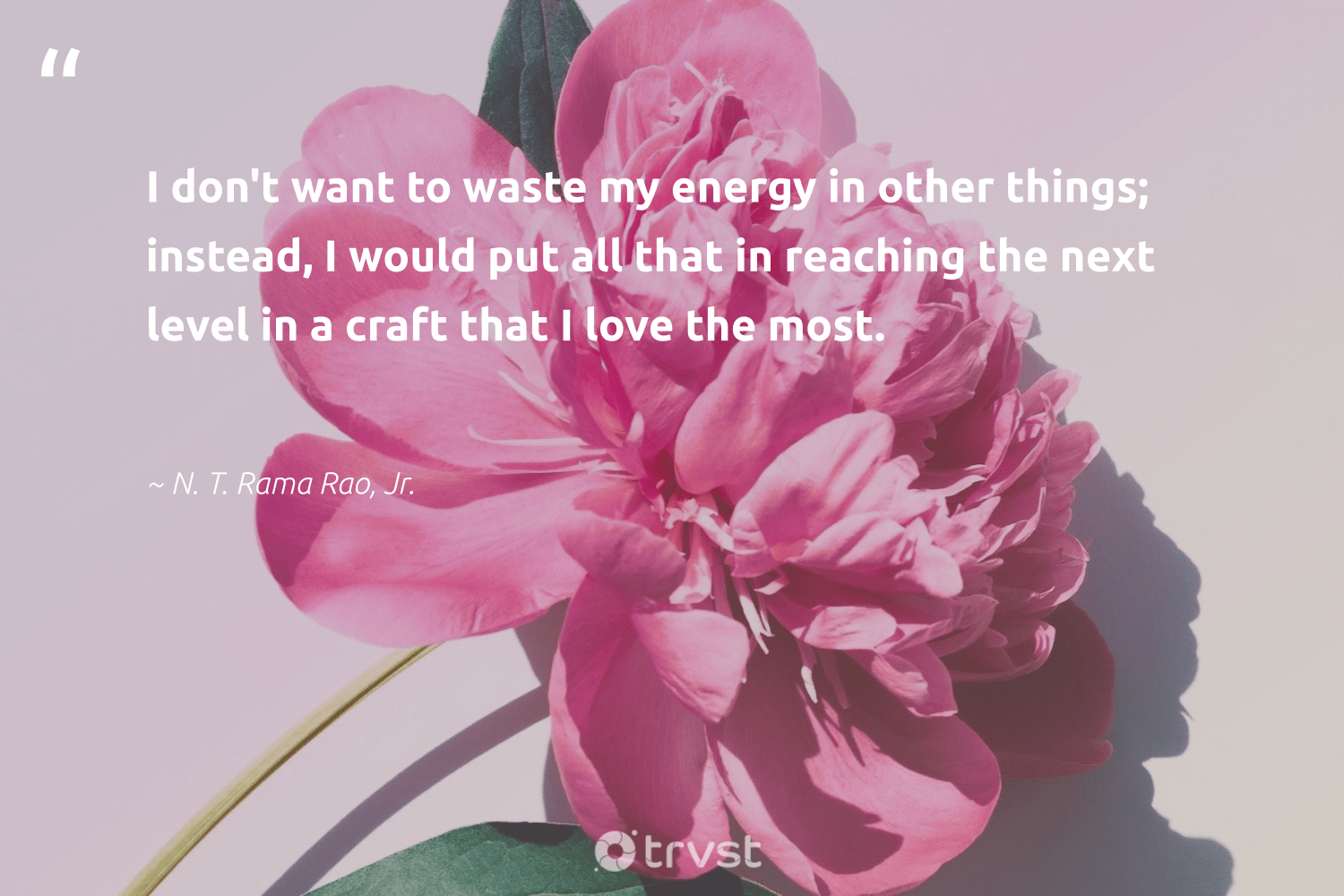 """I don't want to waste my energy in other things; instead, I would put all that in reaching the next level in a craft that I love the most.""  - N. T. Rama Rao, Jr. #trvst #quotes #love #waste #energy #ethicalbusiness #planetearthfirst #socialchange #beinspired #betterplanet #collectiveaction #dogood"