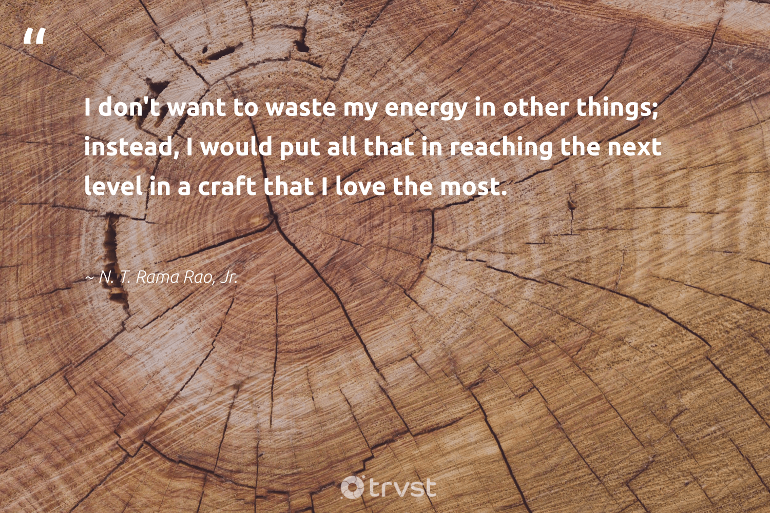 """""""I don't want to waste my energy in other things; instead, I would put all that in reaching the next level in a craft that I love the most.""""  - N. T. Rama Rao, Jr. #trvst #quotes #love #waste #energy #makeadifference #beinspired #dogood #dotherightthing #betterplanet #bethechange #weareallone"""