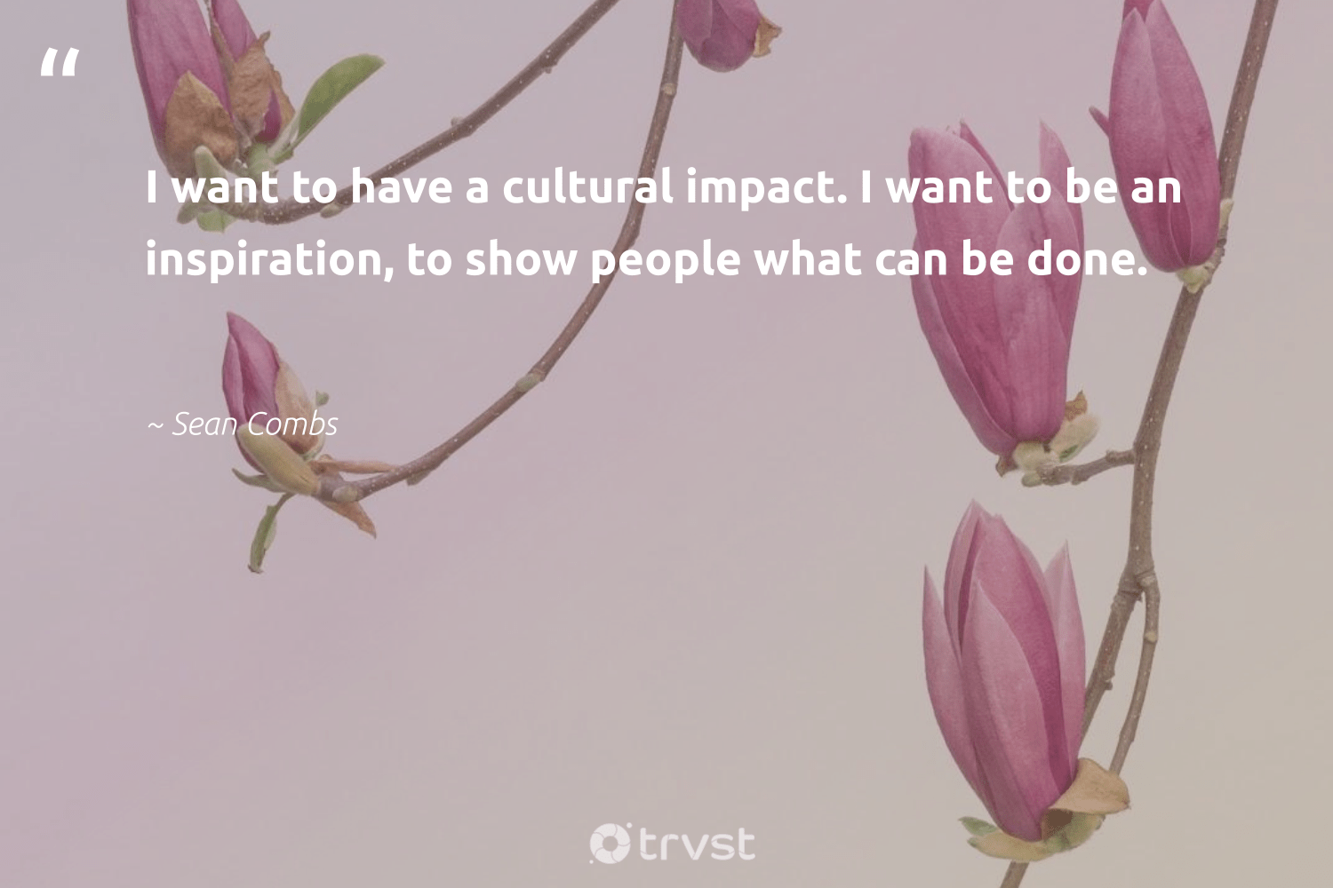 """""""I want to have a cultural impact. I want to be an inspiration, to show people what can be done.""""  - Sean Combs #trvst #quotes #impact #socialchange #dotherightthing #betterplanet #planetearthfirst #giveback #changetheworld #ethicalbusiness #takeaction #weareallone"""
