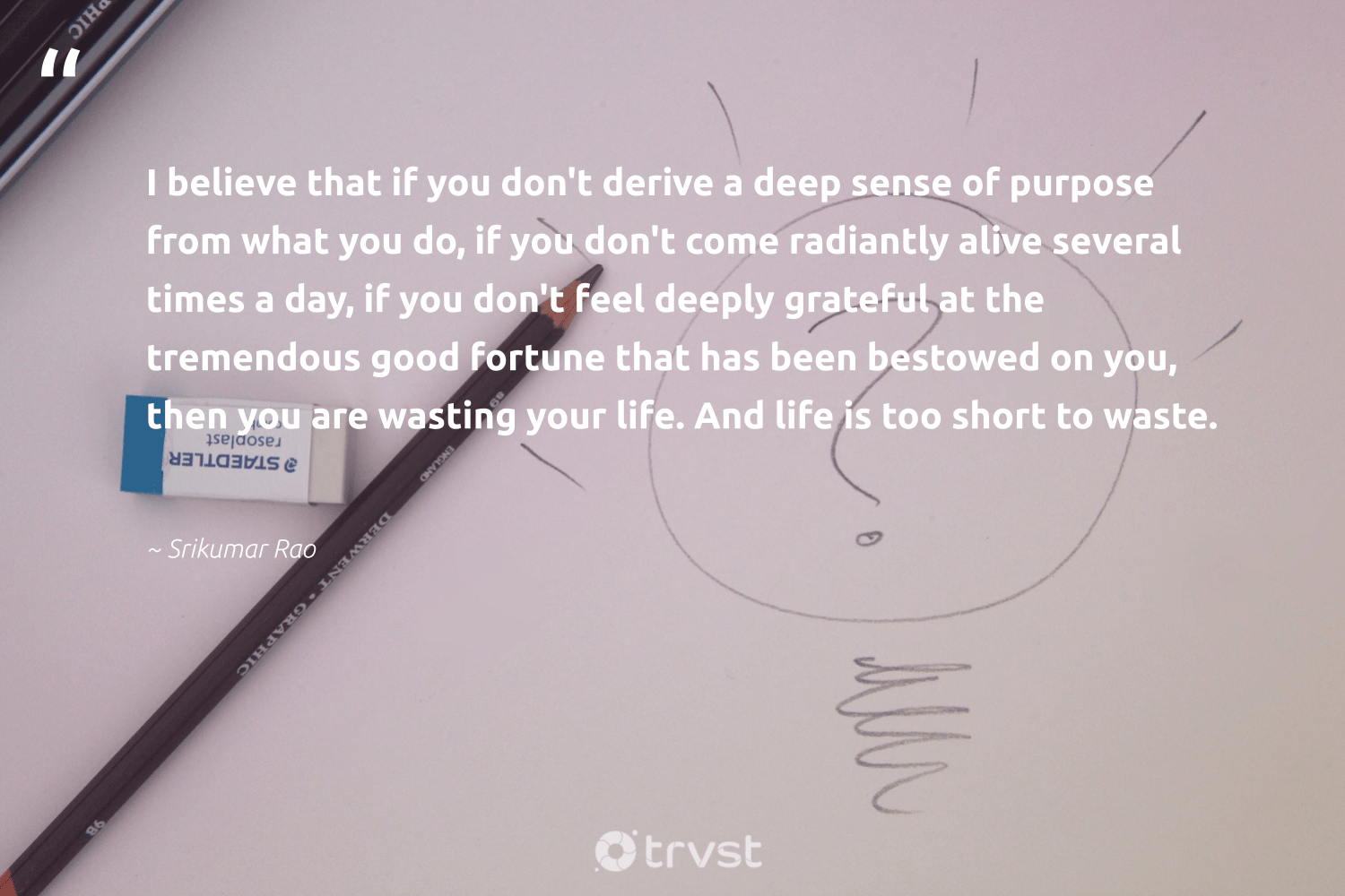 """""""I believe that if you don't derive a deep sense of purpose from what you do, if you don't come radiantly alive several times a day, if you don't feel deeply grateful at the tremendous good fortune that has been bestowed on you, then you are wasting your life. And life is too short to waste.""""  - Srikumar Rao #trvst #quotes #waste #purpose #findingpupose #dogood #nevergiveup #collectiveaction #purposedriven #weareallone #mindset #impact"""