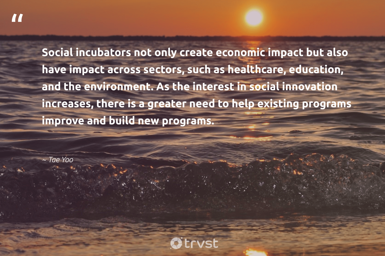 """Social incubators not only create economic impact but also have impact across sectors, such as healthcare, education, and the environment. As the interest in social innovation increases, there is a greater need to help existing programs improve and build new programs.""  - Tae Yoo #trvst #quotes #impact #environment #socialinnovation #education #planet #makeadifference #eco #socialchange #mothernature #dogood"