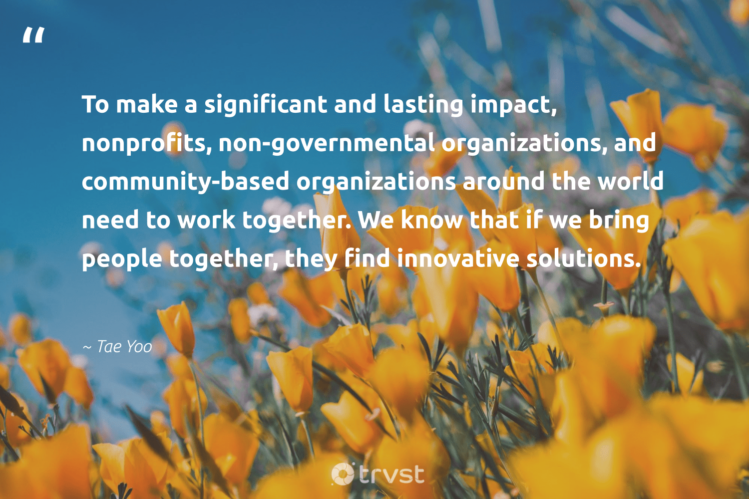 """""""To make a significant and lasting impact, nonprofits, non-governmental organizations, and community-based organizations around the world need to work together. We know that if we bring people together, they find innovative solutions.""""  - Tae Yoo #trvst #quotes #impact #betterplanet #bethechange #socialchange #thinkgreen #makeadifference #ecoconscious #weareallone #beinspired #giveback"""