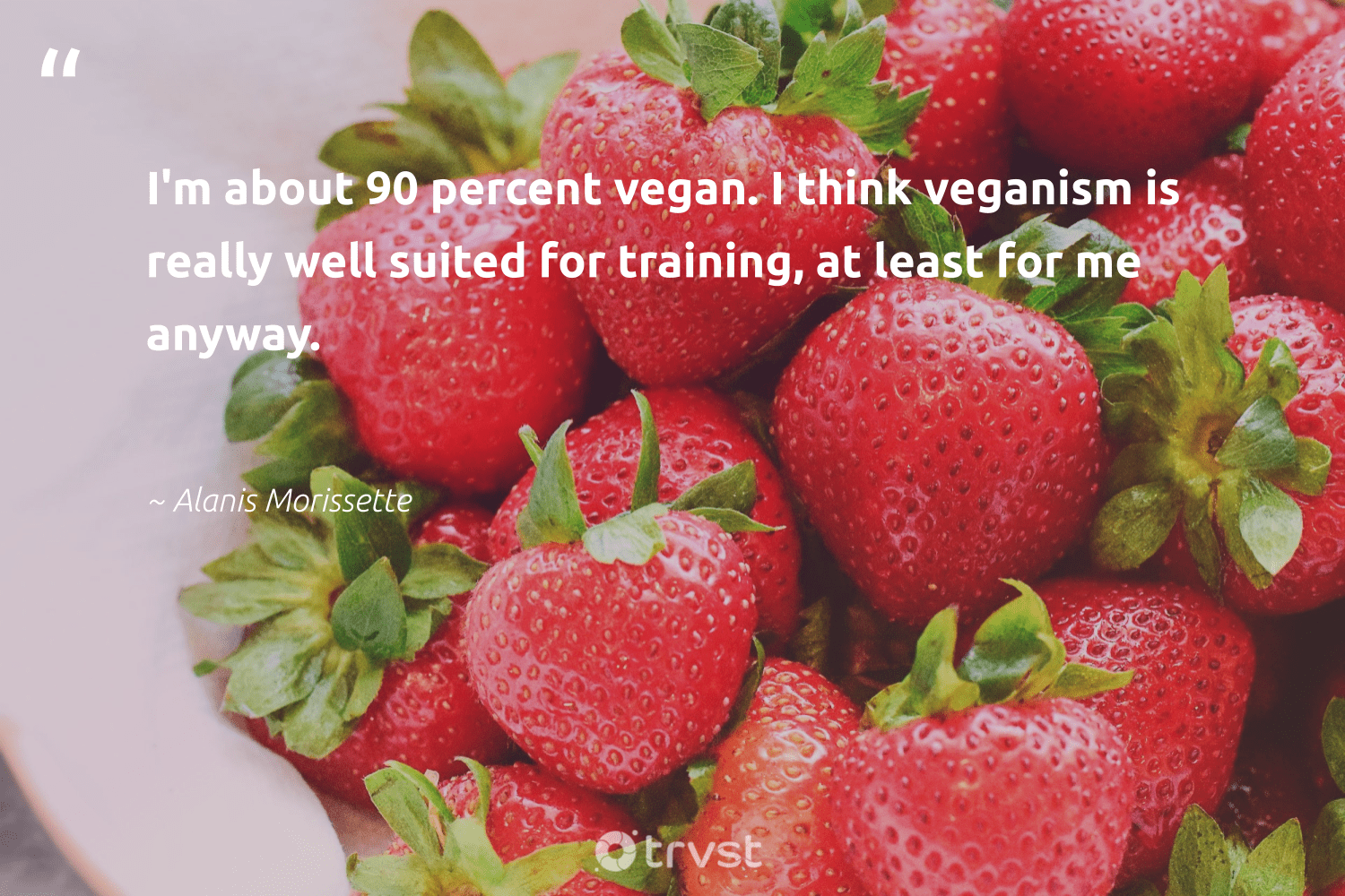 """I'm about 90 percent vegan. I think veganism is really well suited for training, at least for me anyway.""  - Alanis Morissette #trvst #quotes #vegan #veggie #sustainability #green #socialchange #vegetarian #fashion #gogreen #bethechange #veganfoodshare"