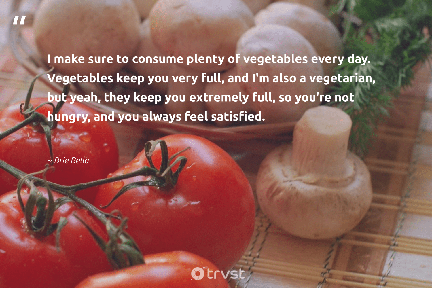 """""""I make sure to consume plenty of vegetables every day. Vegetables keep you very full, and I'm also a vegetarian, but yeah, they keep you extremely full, so you're not hungry, and you always feel satisfied.""""  - Brie Bella #trvst #quotes #hungry #vegetarian #foodforthepoor #gogreen #makeadifference #beinspired #hunger #bethechange #equalrights #impact"""