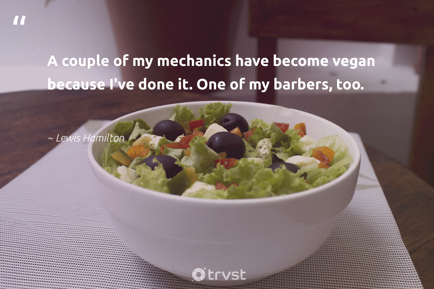 """A couple of my mechanics have become vegan because I've done it. One of my barbers, too.""  - Lewis Hamilton #trvst #quotes #vegan #veganfood #fashion #green #collectiveaction #veganlife #greenliving #gogreen #beinspired #veganfoodshare"