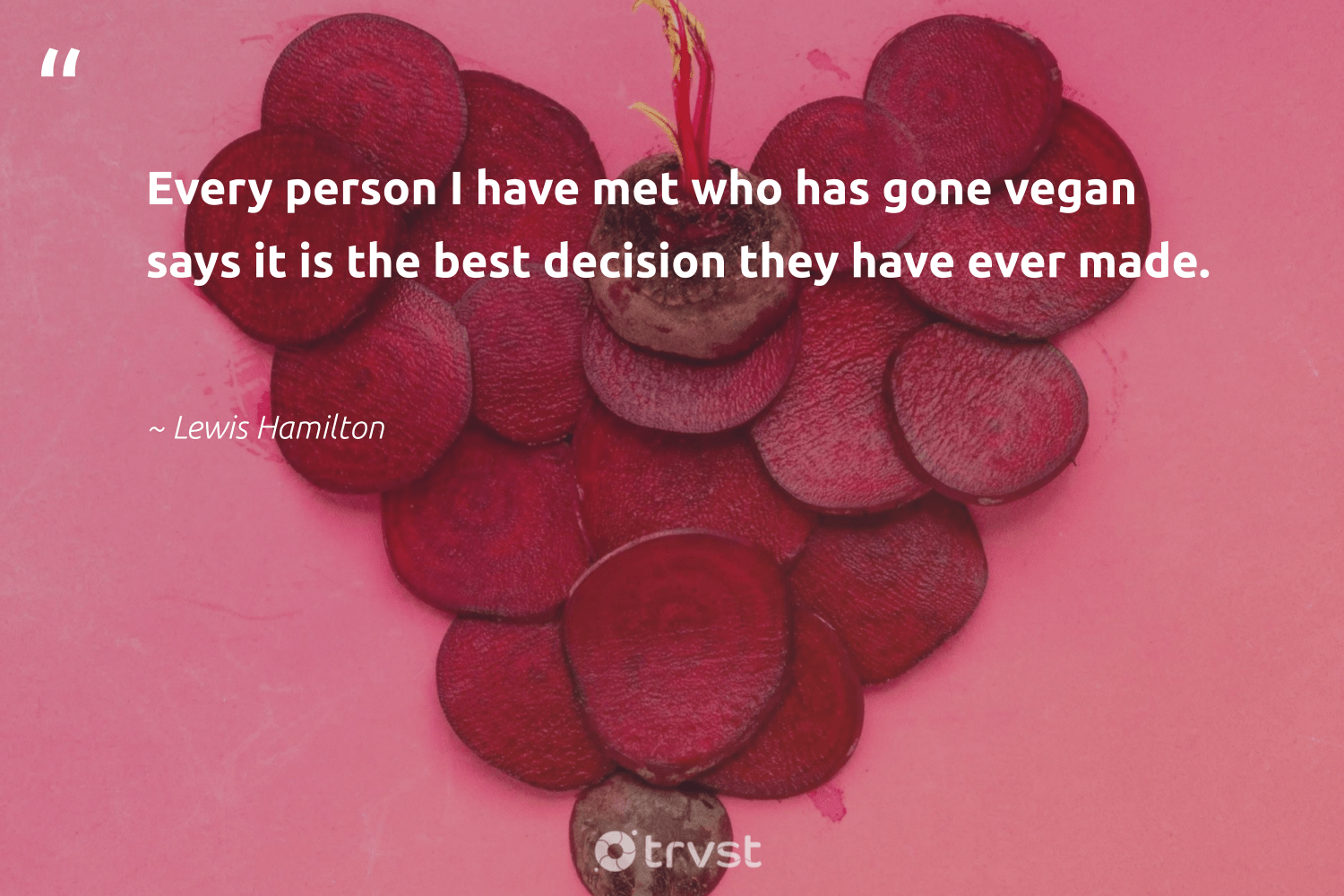 """Every person I have met who has gone vegan says it is the best decision they have ever made.""  - Lewis Hamilton #trvst #quotes #vegan #veganlife #sustainable #greenliving #dogood #vegetarian #sustainability #fashion #dotherightthing #govegan"
