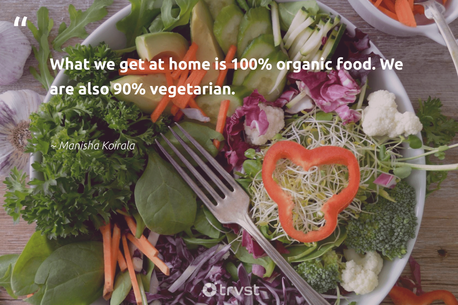 """""""What we get at home is 100% organic food. We are also 90% vegetarian.""""  - Manisha Koirala #trvst #quotes #food #organic #vegetarian #hungry #greenliving #makeadifference #changetheworld #foodforthepoor #bethechange #equalopportunity"""