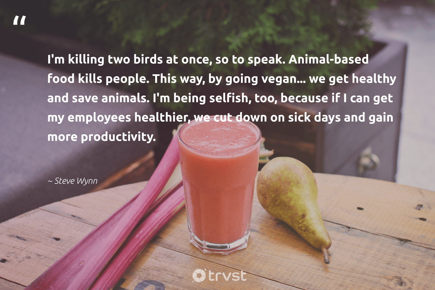 """I'm killing two birds at once, so to speak. Animal-based food kills people. This way, by going vegan... we get healthy and save animals. I'm being selfish, too, because if I can get my employees healthier, we cut down on sick days and gain more productivity.""  - Steve Wynn #trvst #quotes #birds #animals #animal #food #healthy #productivity #vegan #wildlife #animallovers #sustainable"