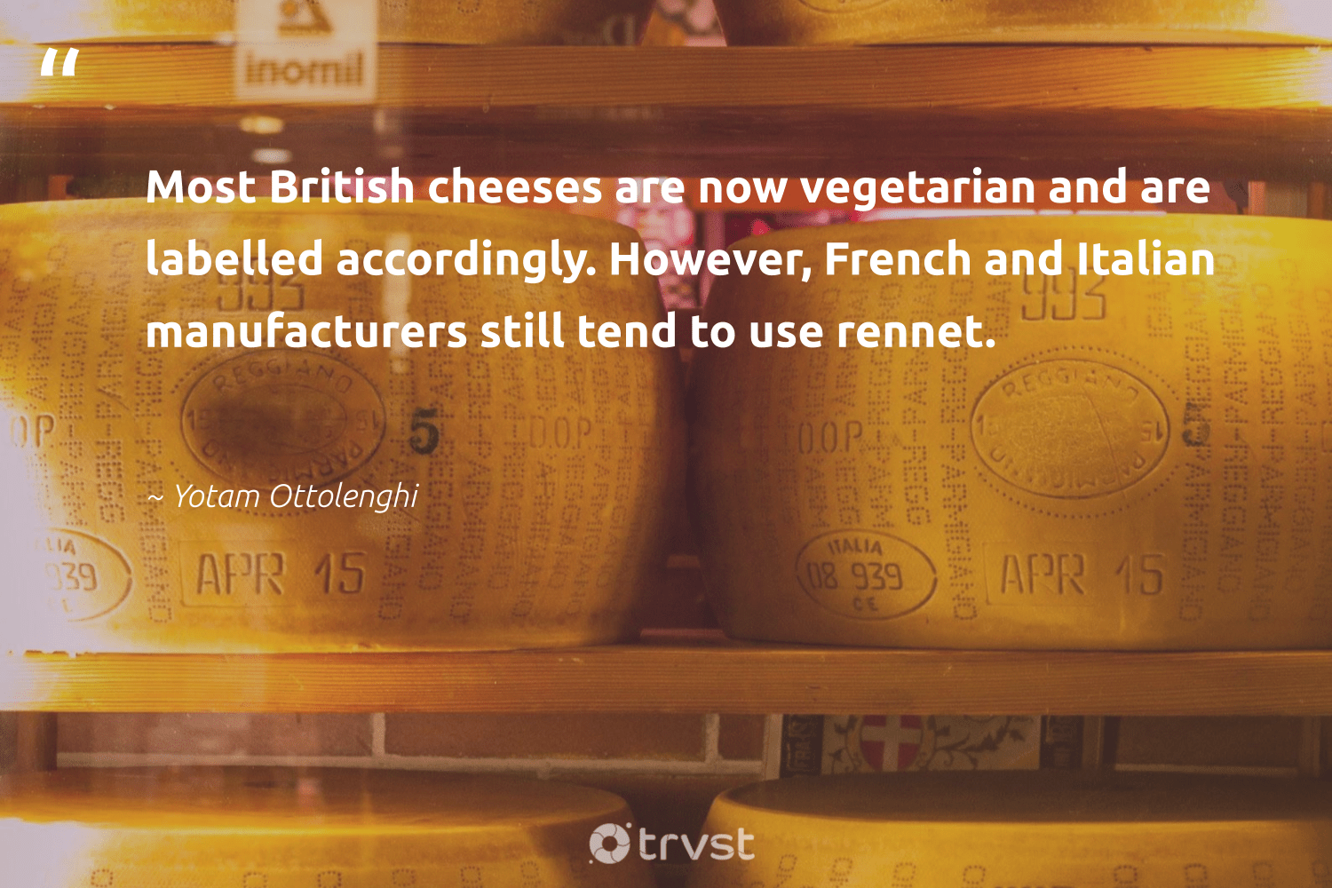 """""""Most British cheeses are now vegetarian and are labelled accordingly. However, French and Italian manufacturers still tend to use rennet.""""  - Yotam Ottolenghi #trvst #quotes #vegan #vegetarian #govegan #gogreen #sustainability #socialchange #veganfood #green #sustainable #ecoconscious"""