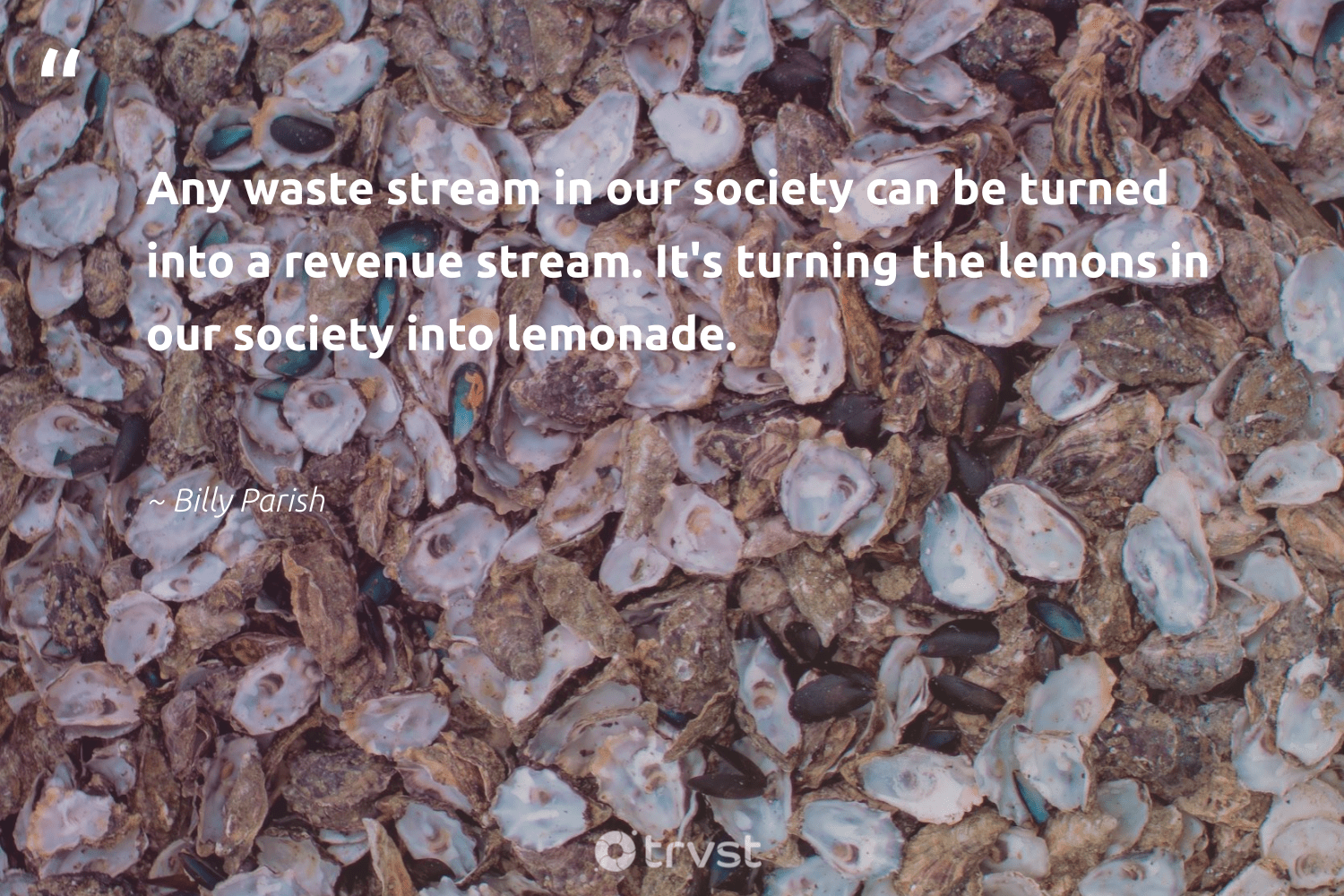 """""""Any waste stream in our society can be turned into a revenue stream. It's turning the lemons in our society into lemonade.""""  - Billy Parish #trvst #quotes #waste #society #thinkgreen #dotherightthing #savetheplanet #bethechange #takeaction #ecoconscious #wasteless #dogood"""