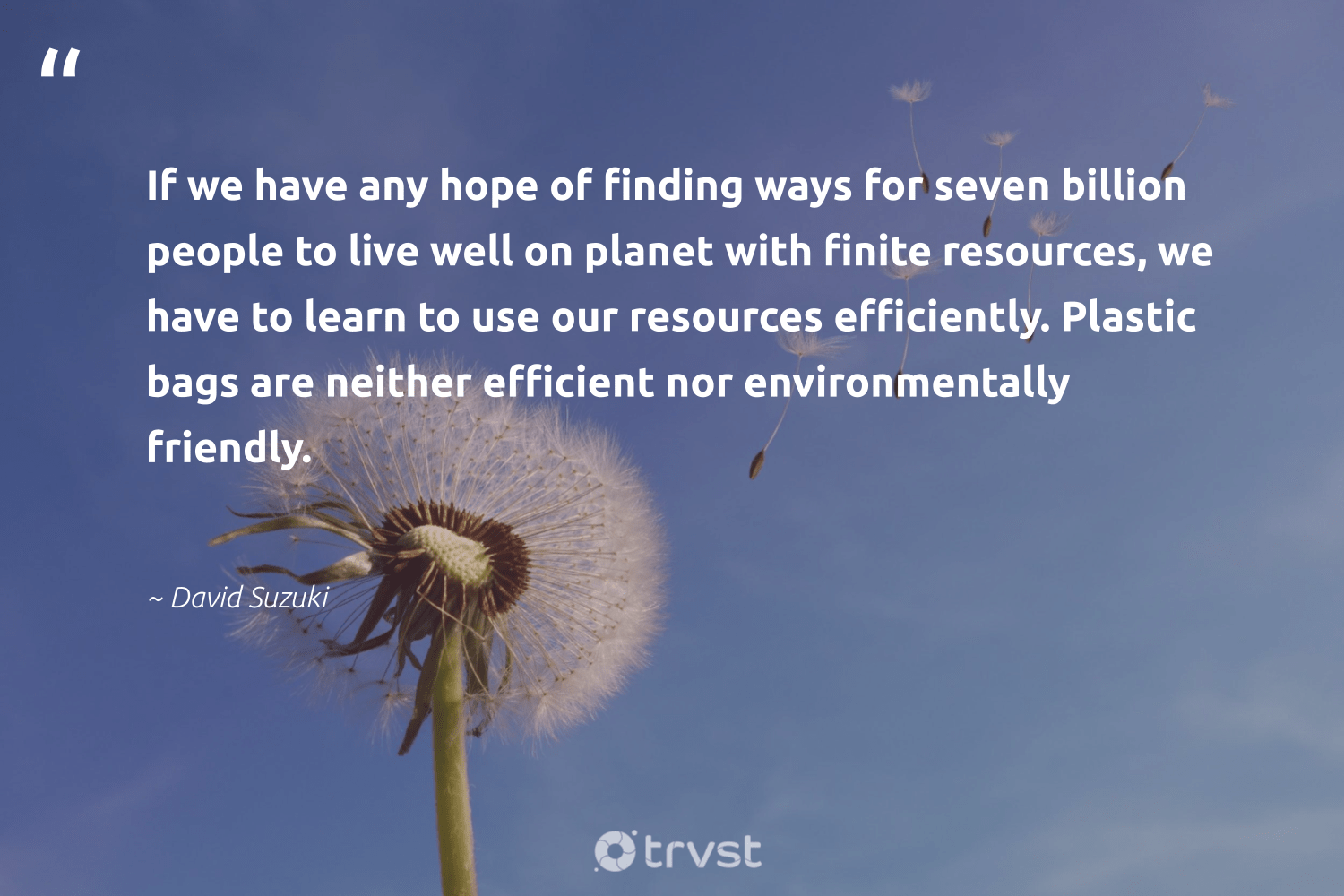 """""""If we have any hope of finding ways for seven billion people to live well on planet with finite resources, we have to learn to use our resources efficiently. Plastic bags are neither efficient nor environmentally friendly.""""  - David Suzuki #trvst #quotes #plasticwaste #environmentallyfriendly #plastic #planet #hope #breakfreefromplastic #wasteless #trash #dogood #lessplastic"""