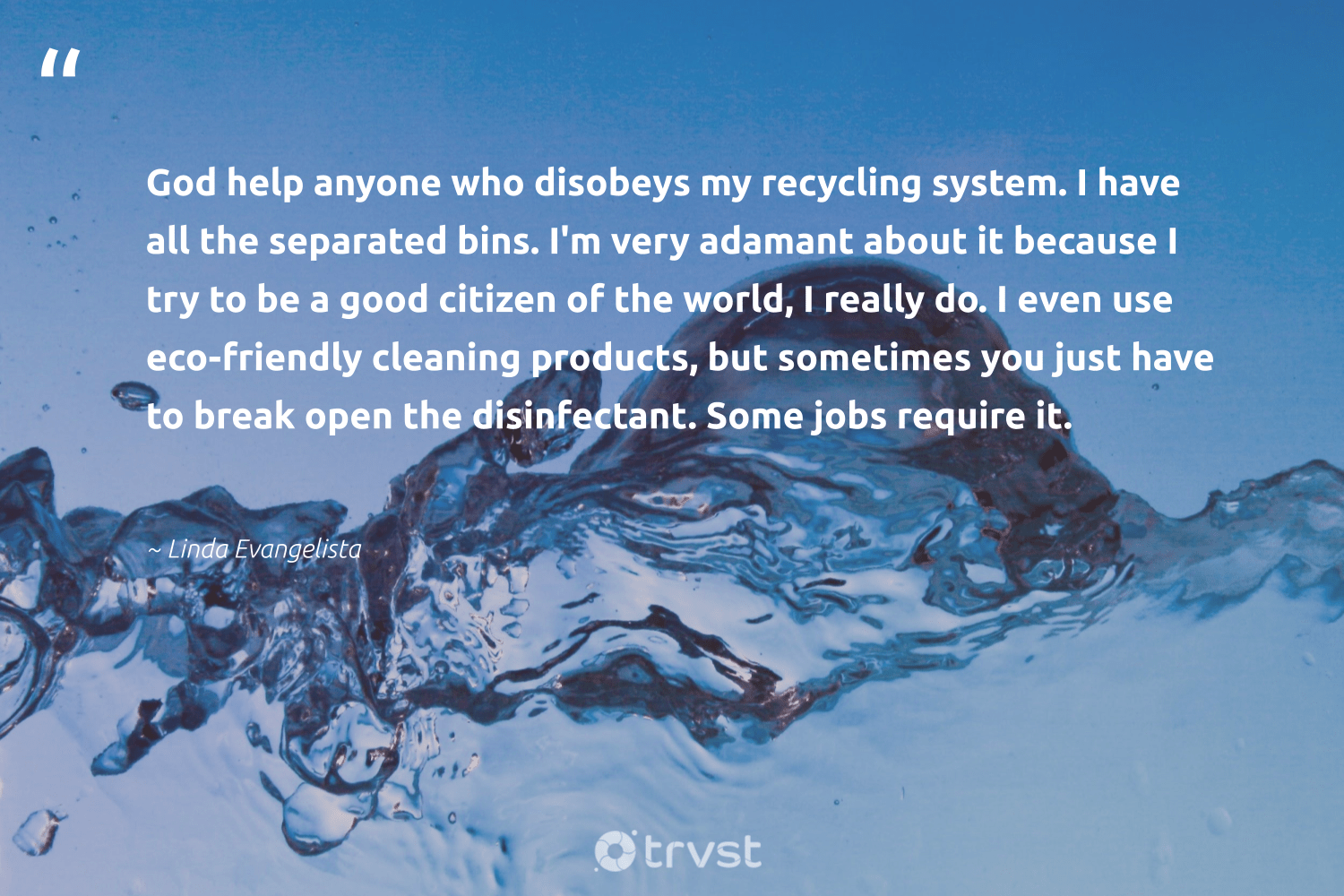 """""""God help anyone who disobeys my recycling system. I have all the separated bins. I'm very adamant about it because I try to be a good citizen of the world, I really do. I even use eco-friendly cleaning products, but sometimes you just have to break open the disinfectant. Some jobs require it.""""  - Linda Evangelista #trvst #quotes #recycling #ecofriendly #eco #recycled #noplanetb #ecoconscious #collectiveaction #refuse #earthdayeveryday #ecoactivism"""