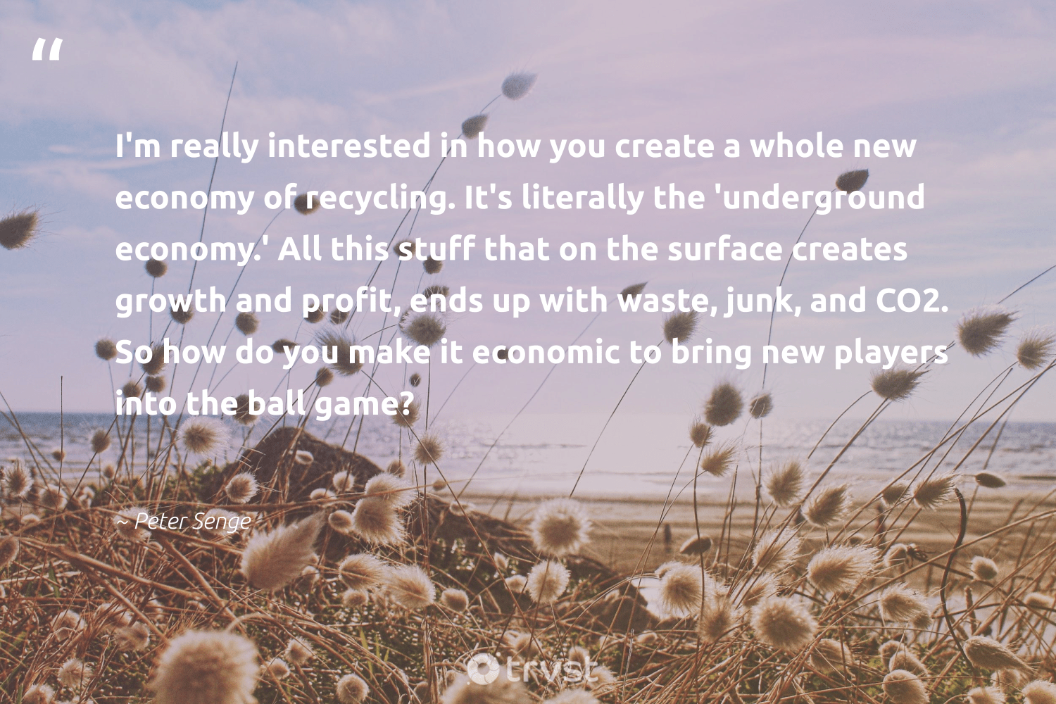 """""""I'm really interested in how you create a whole new economy of recycling. It's literally the 'underground economy.' All this stuff that on the surface creates growth and profit, ends up with waste, junk, and CO2. So how do you make it economic to bring new players into the ball game?""""  - Peter Senge #trvst #quotes #recycling #waste #co2 #refurbished #greenliving #planetearthfirst #socialchange #upcycling #wasteless #loveourplanet"""