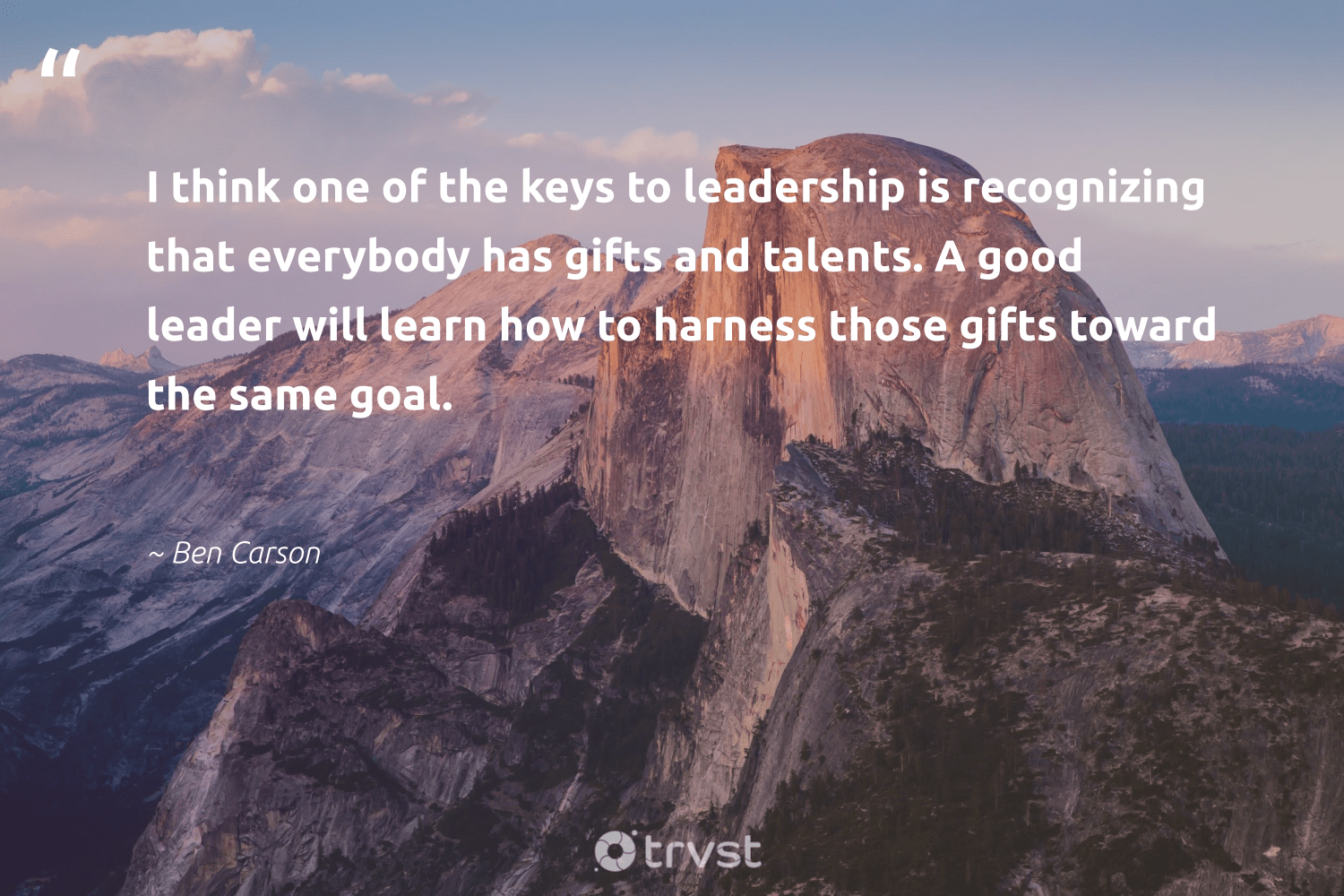 """I think one of the keys to leadership is recognizing that everybody has gifts and talents. A good leader will learn how to harness those gifts toward the same goal.""  - Ben Carson #trvst #quotes #leadership #leadershipqualities #softskills #futureofwork #bethechange #leadershipdevelopment #begreat #nevergiveup #takeaction #leadershipskills"